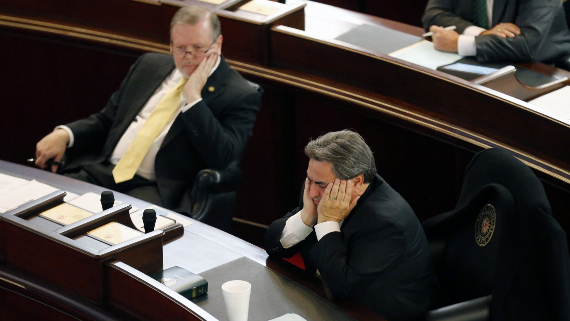 Exhausted North Carolina senators during Wednesday's special session