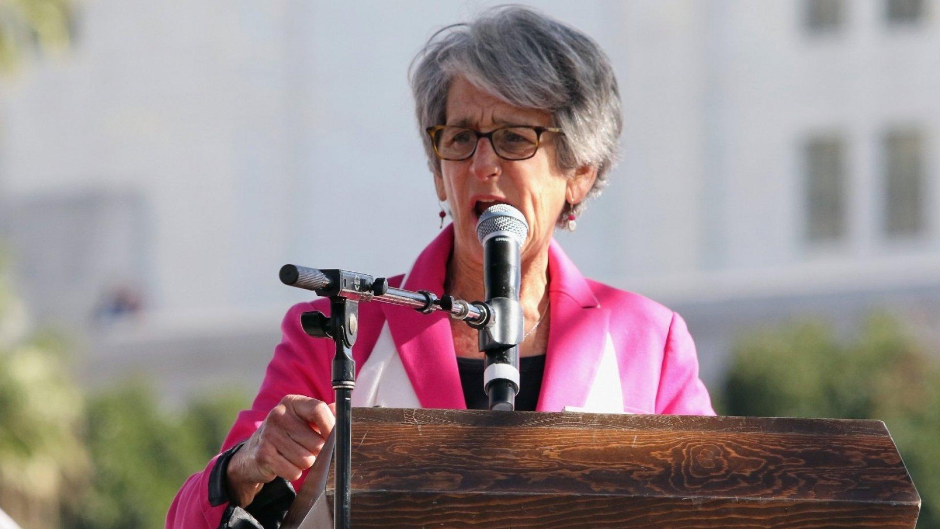 California Senator Hannah-Beth Jackson speaks during the Women's March Los Angeles on January 21, 2017 in Los Angeles, California.