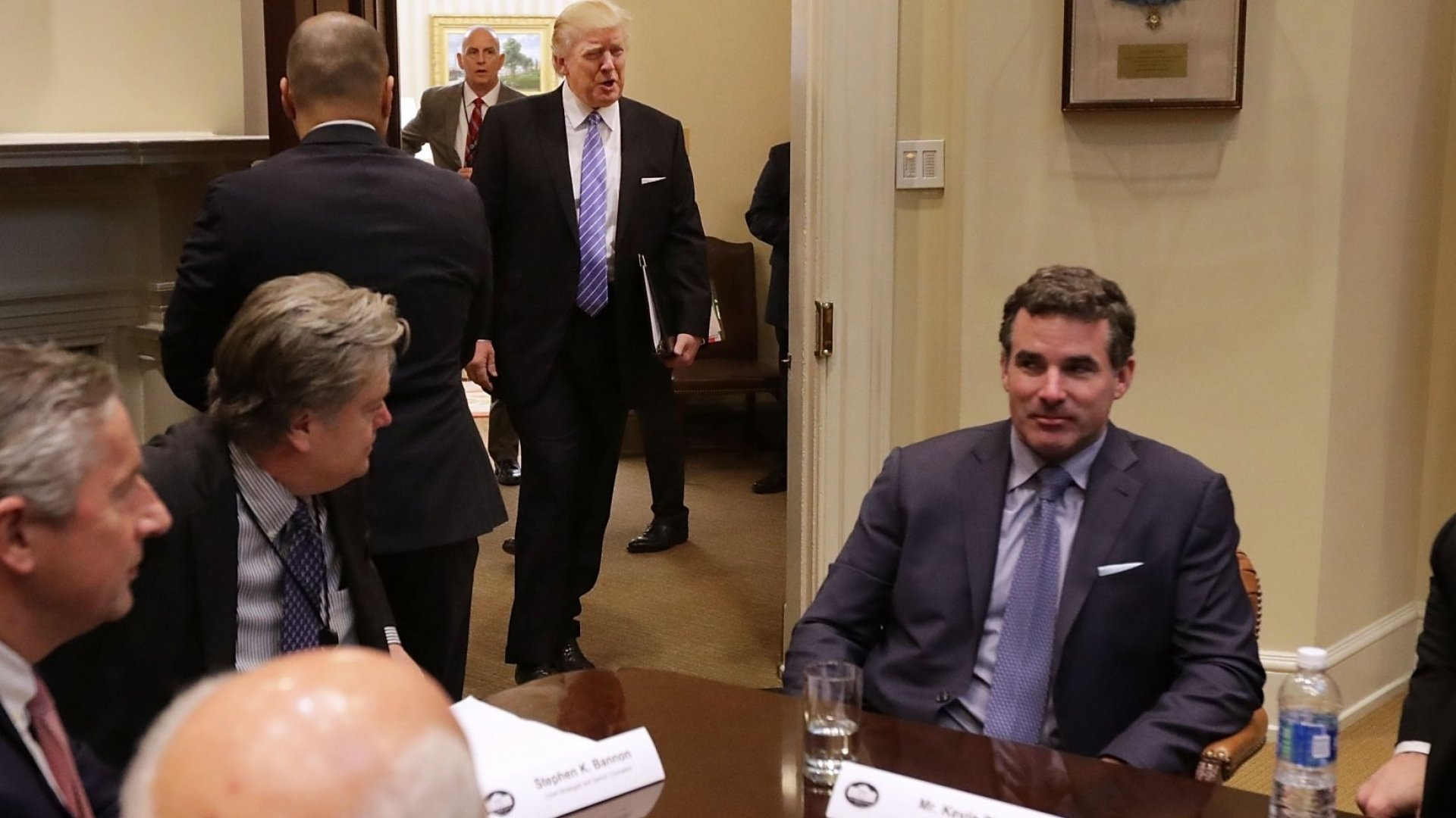 Kevin Plank, CEO of Under Armour, is among a handful of business leaders who met with President Trump during his first week in the White House. Now, Plank's company is taking a hit.