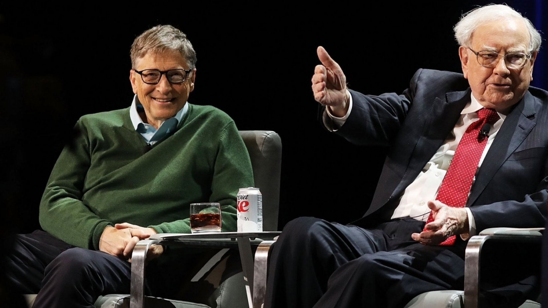 Bill Gates and Warren Buffett speaking to students at Columbia University.