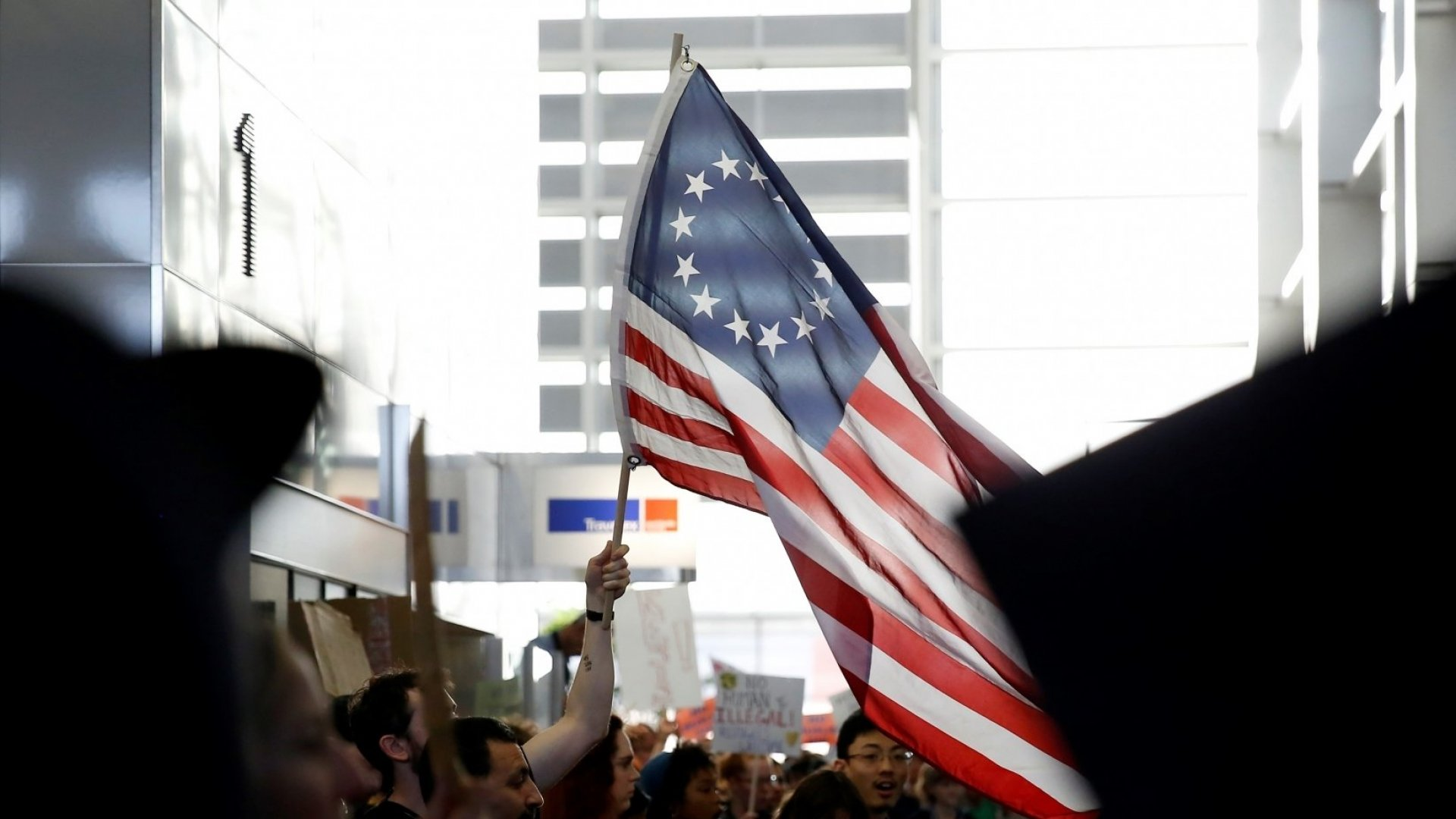 Demonstrators against President Donald Trump's Muslim Ban come together at 2nd day of protests at San Francisco International Airport on January 29, 2017.