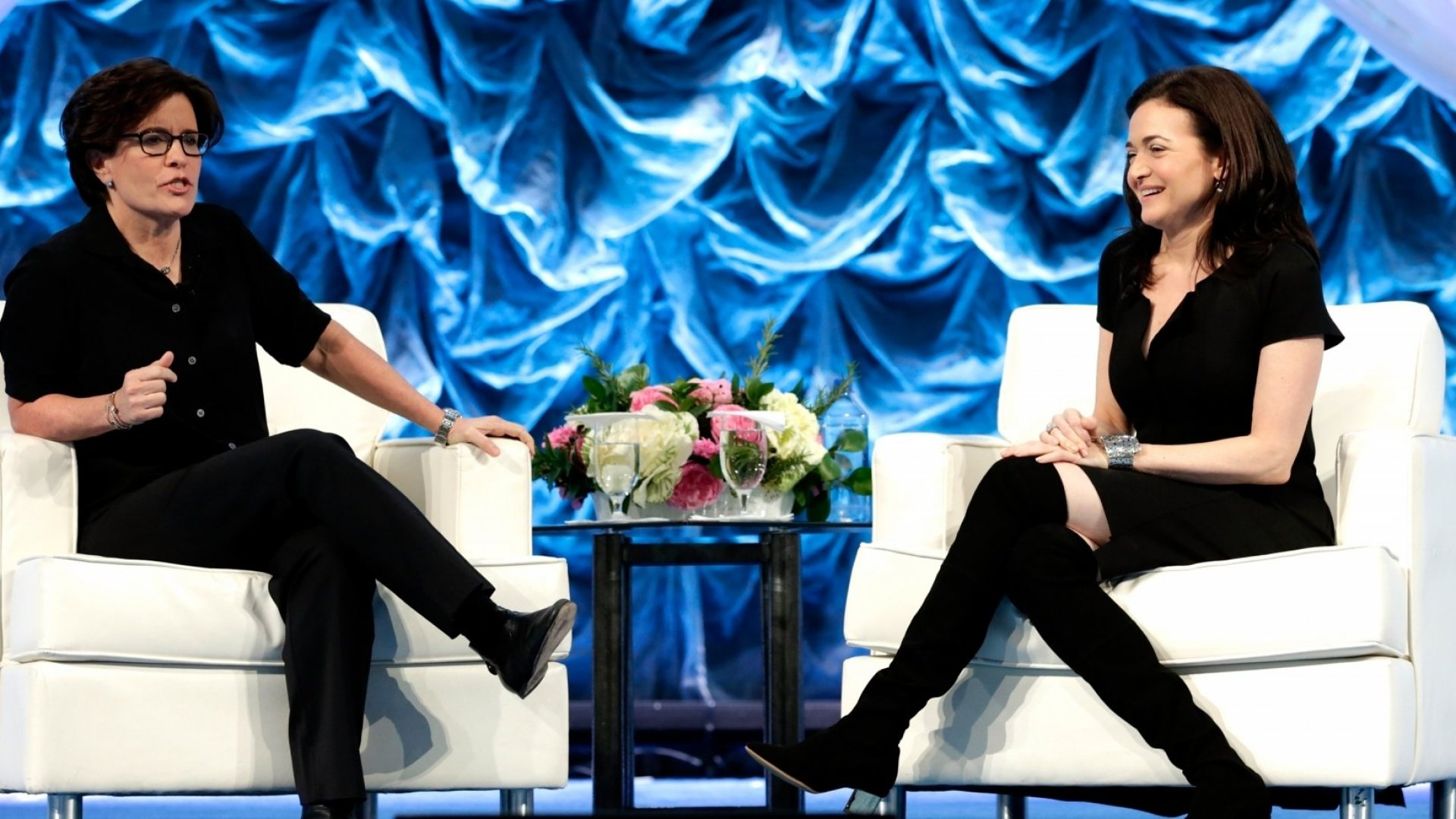Facebook COO Sheryl Sandberg speaks with journalist Kara Swisher onstage at Makers Conference in San Francisco on February 7, 2017.