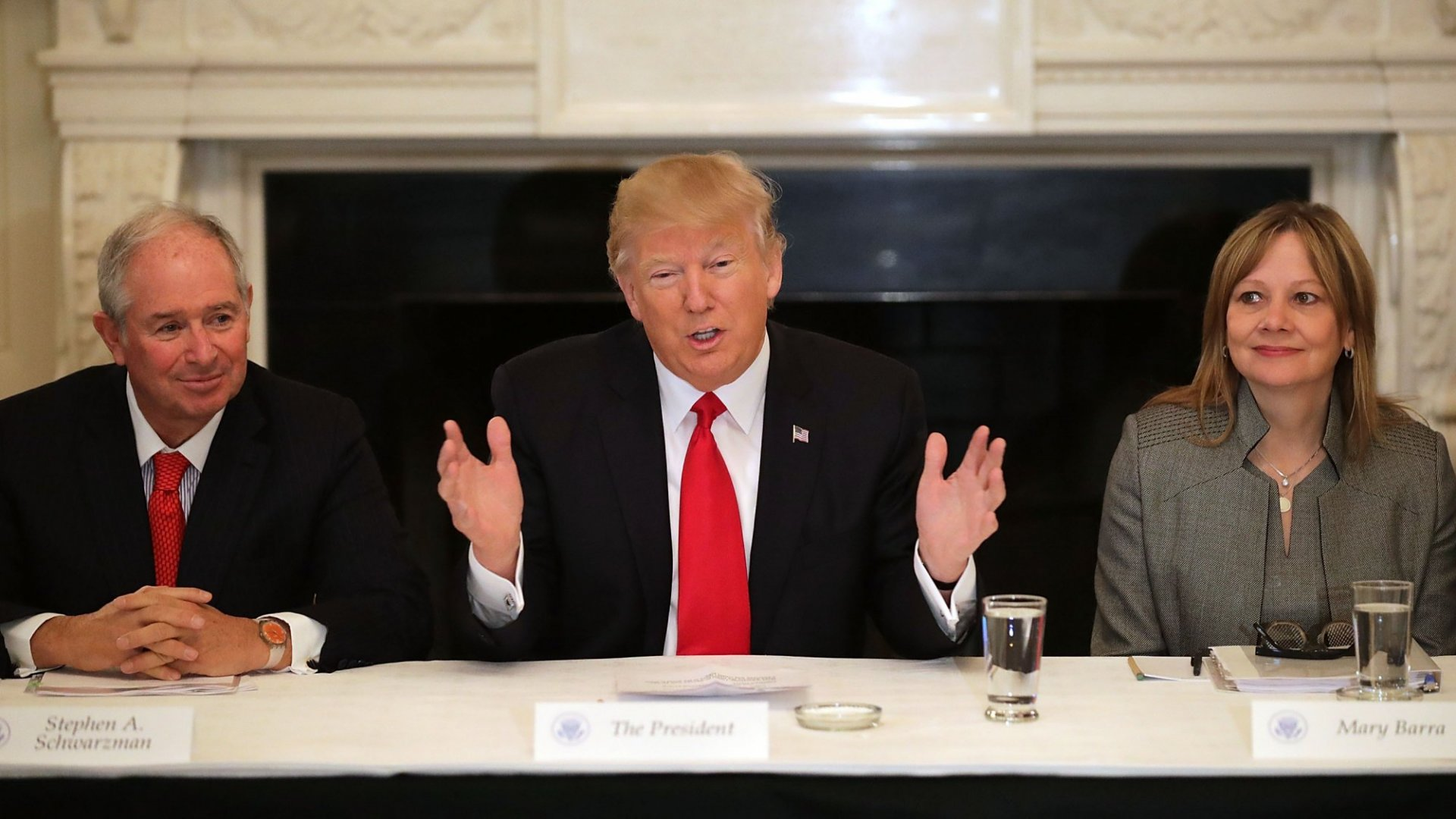 President Donald Trump delivers opening remarks at a forum of Business leaders with General Motcrs CEO Mary Barra (R) and chaired by Blackstone Group CEO Stephen Schwarzman at the White House February 3,2017 in Washington, D.C. Leaders from automotive and manufacturing industries, financial and retail services and other powerful global businesses were invited.