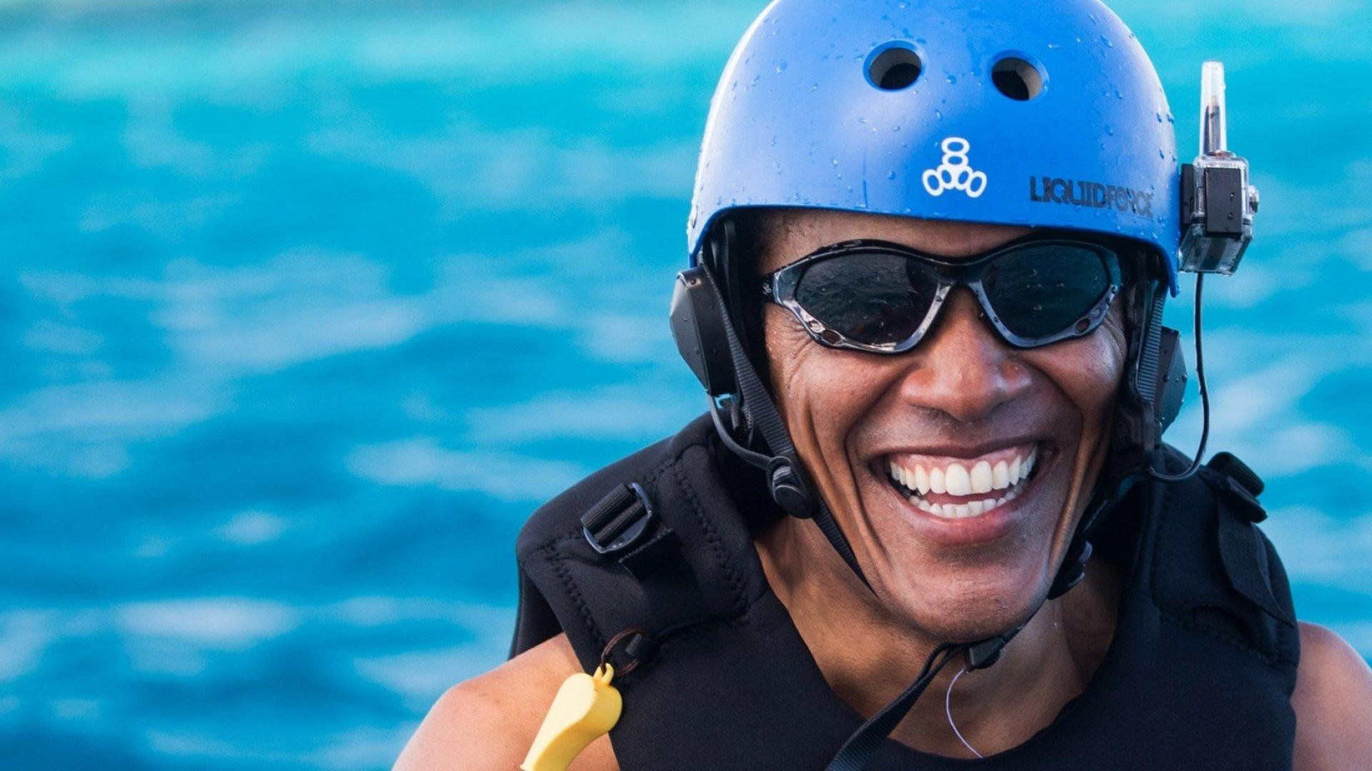 Barack Obama between kitesurfing sessions.