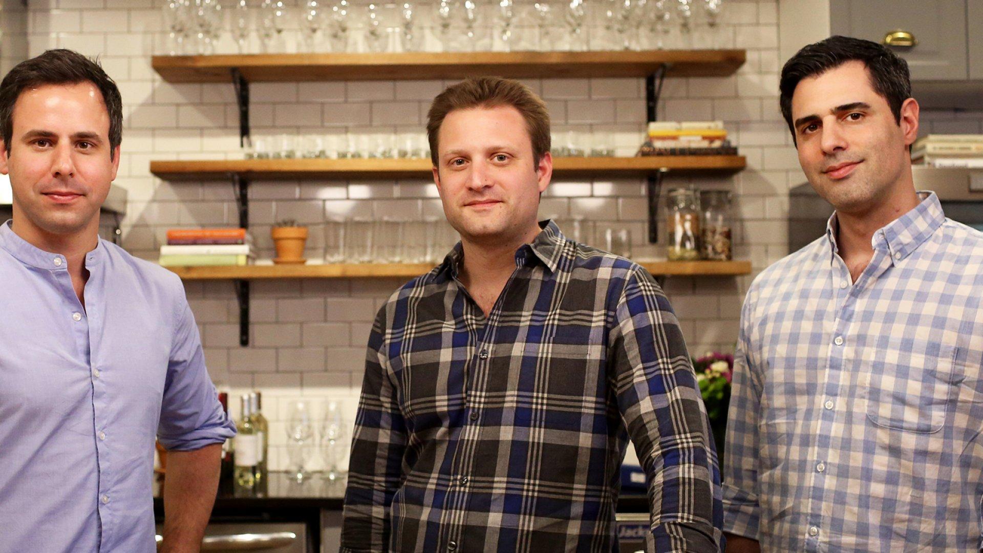 Matt Wadiak (left), Matt Salzberg, and Ilia Papas, co-founders of the recipe delivery service Blue Apron.
