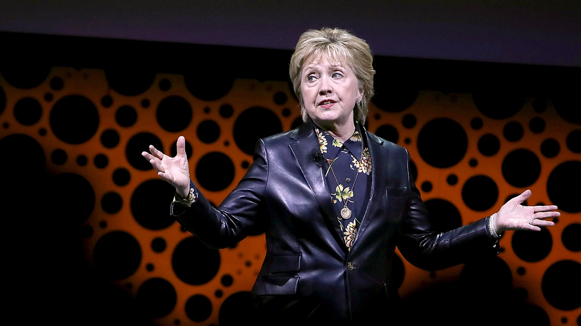 Hillary Clinton speaking at a gathering of the Professional BusinessWomen of California
