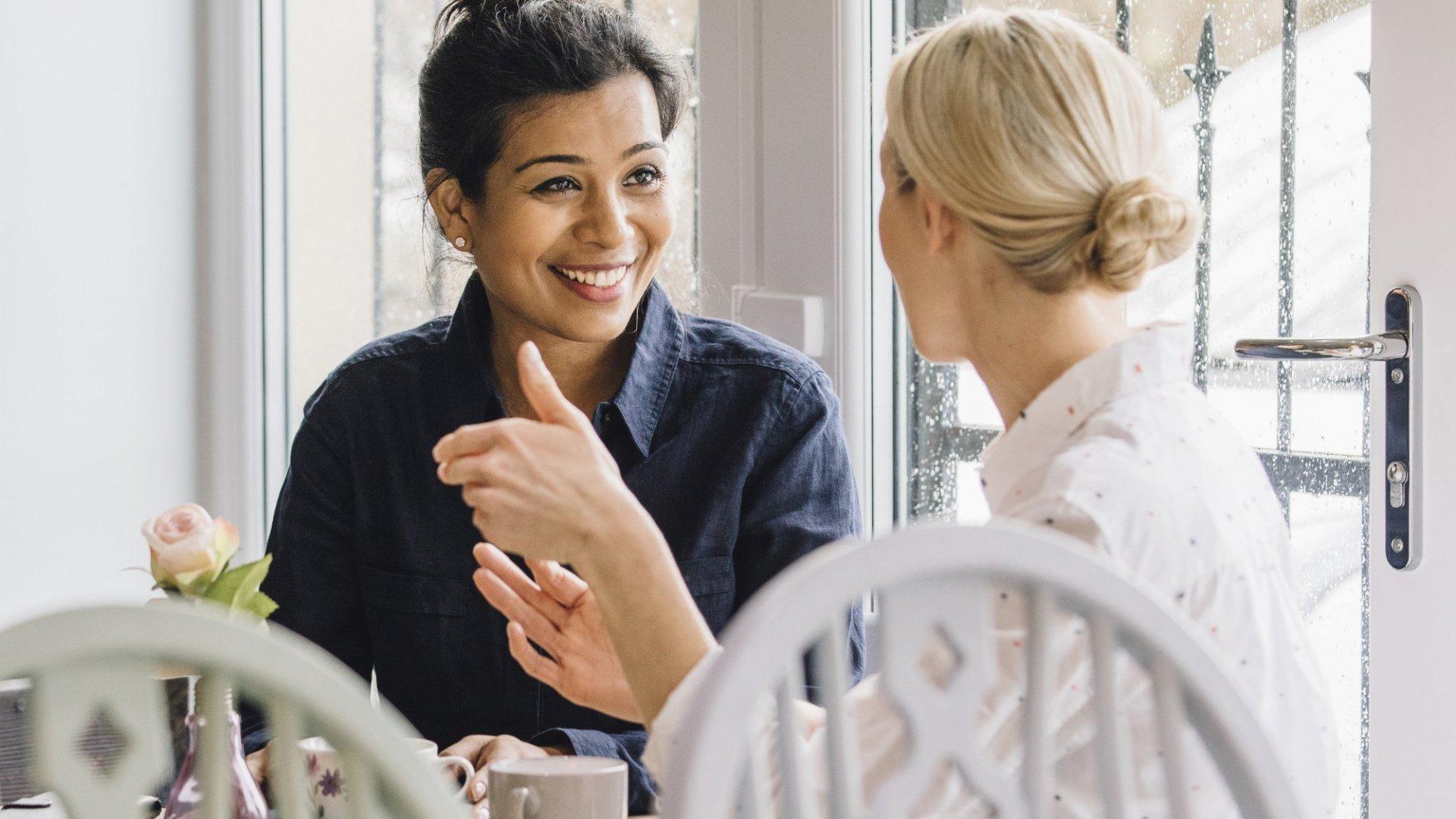 Two women deep in conversation