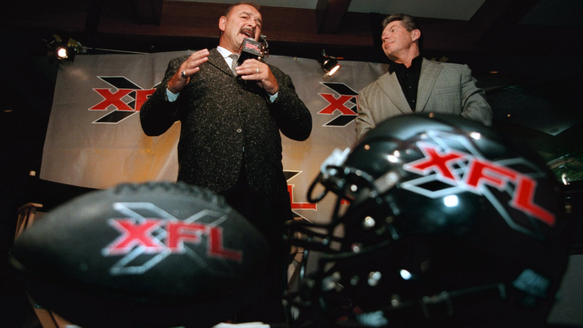 Vince McMahon (right), CEO of WWE, was one of the founders of the now-defunct XFL.