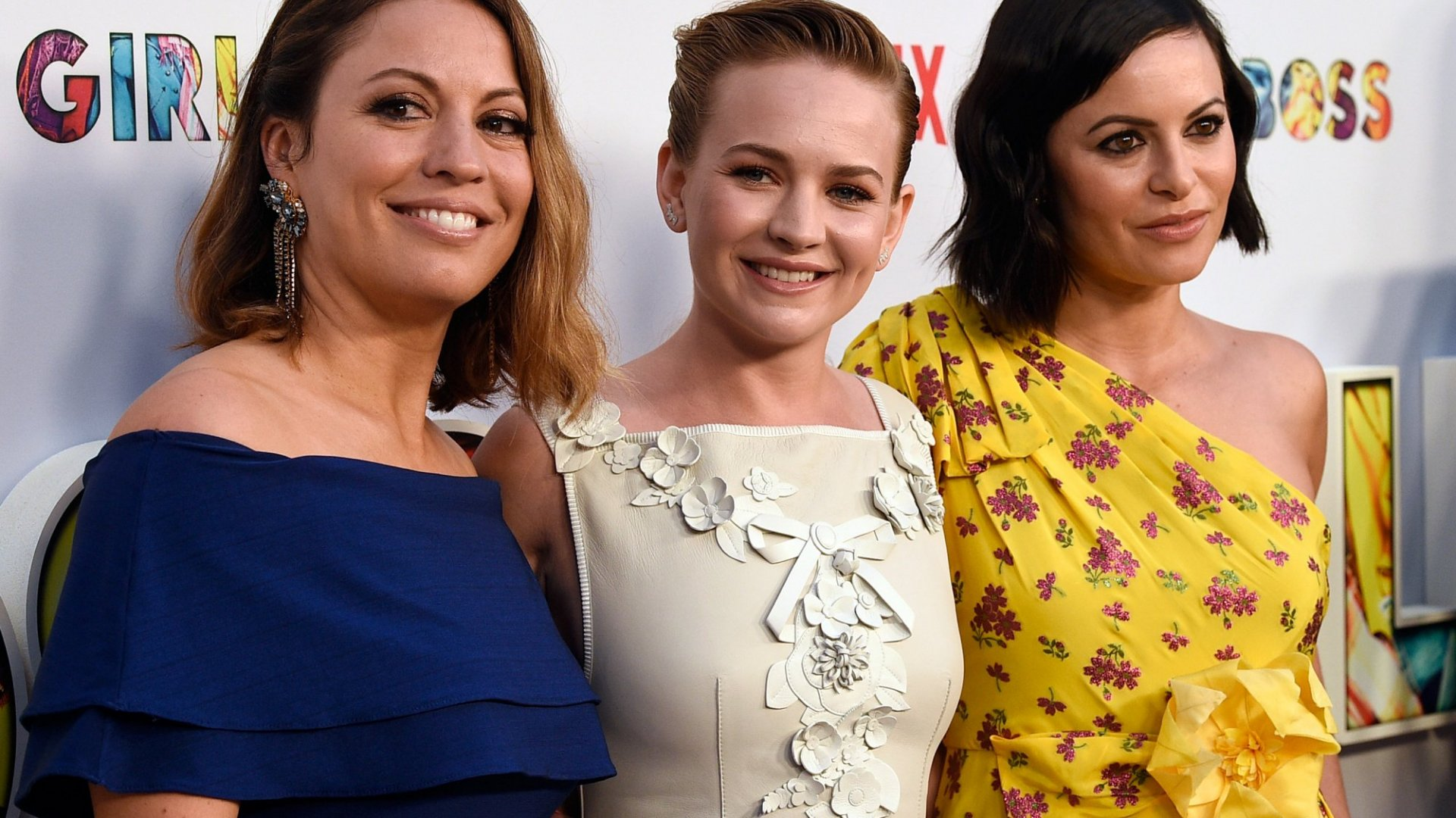 Show creator Kay Cannon, actor Britt Robertson and executive producer Sophia Amoruso attend the premiere of Netflix's <em>Girlboss</em> at ArcLight Cinemas on April 17, 2017 in Hollywood, California. (Photo by Kevork Djansezian/Getty Images)