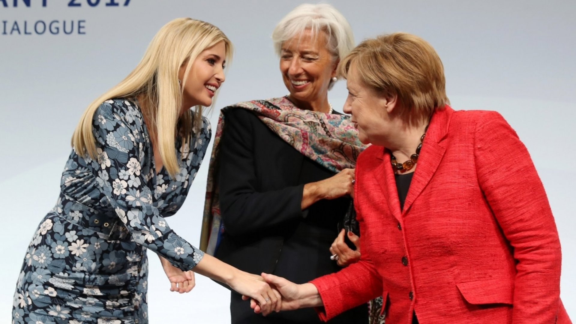 Ivanka Trump, daughter of U.S. President Donald Trump, International Monetary Fund (IMF) Managing Director Christine Lagarde and German Chancellor Angela Merkel talk on stage at the W20 conference on April 25, 2017 in Berlin, Germany.
