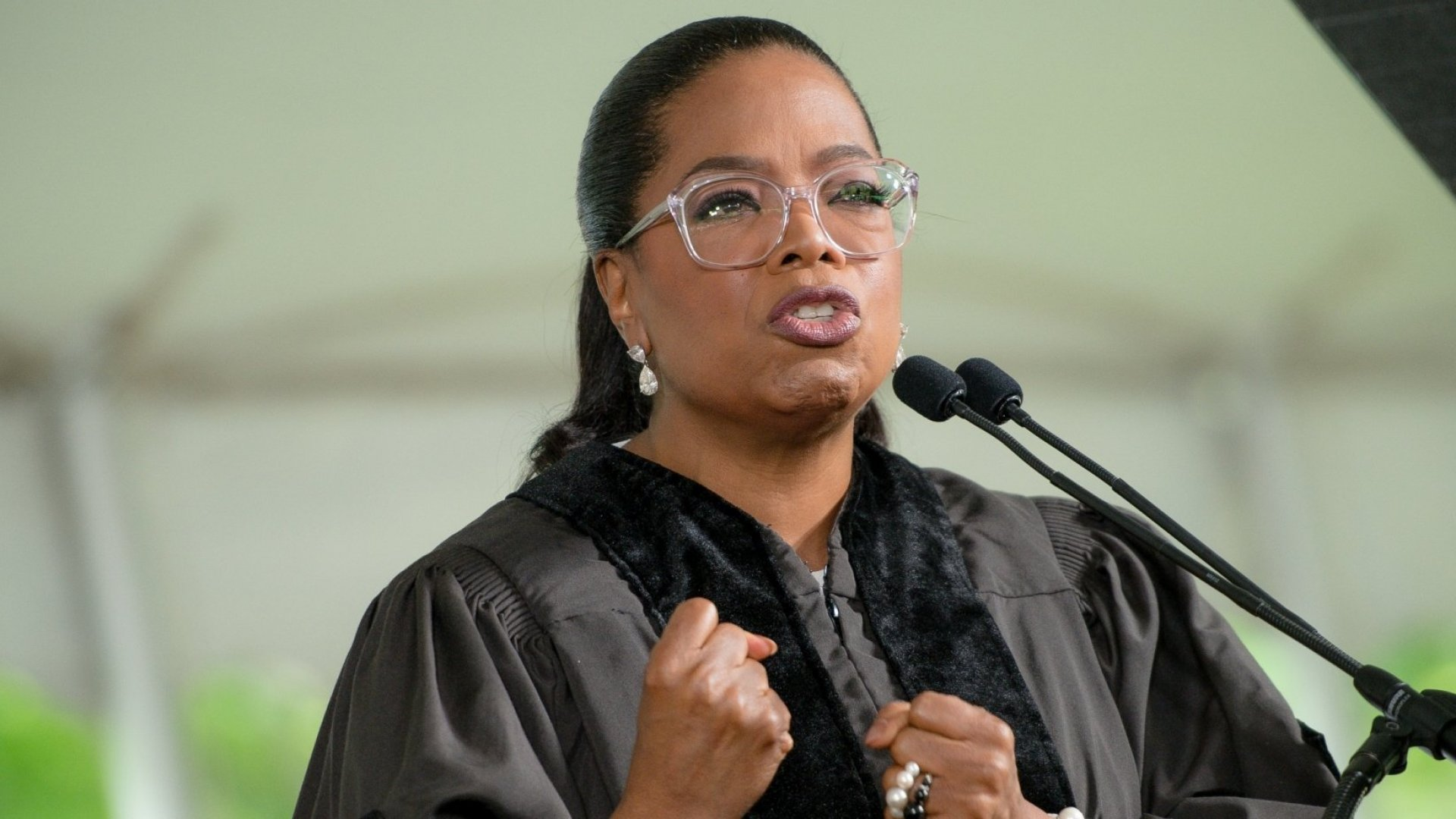 Oprah Winfrey delivers the commencement speech at Agnes Scott College on May 13, 2017 in Decatur, Georgia.