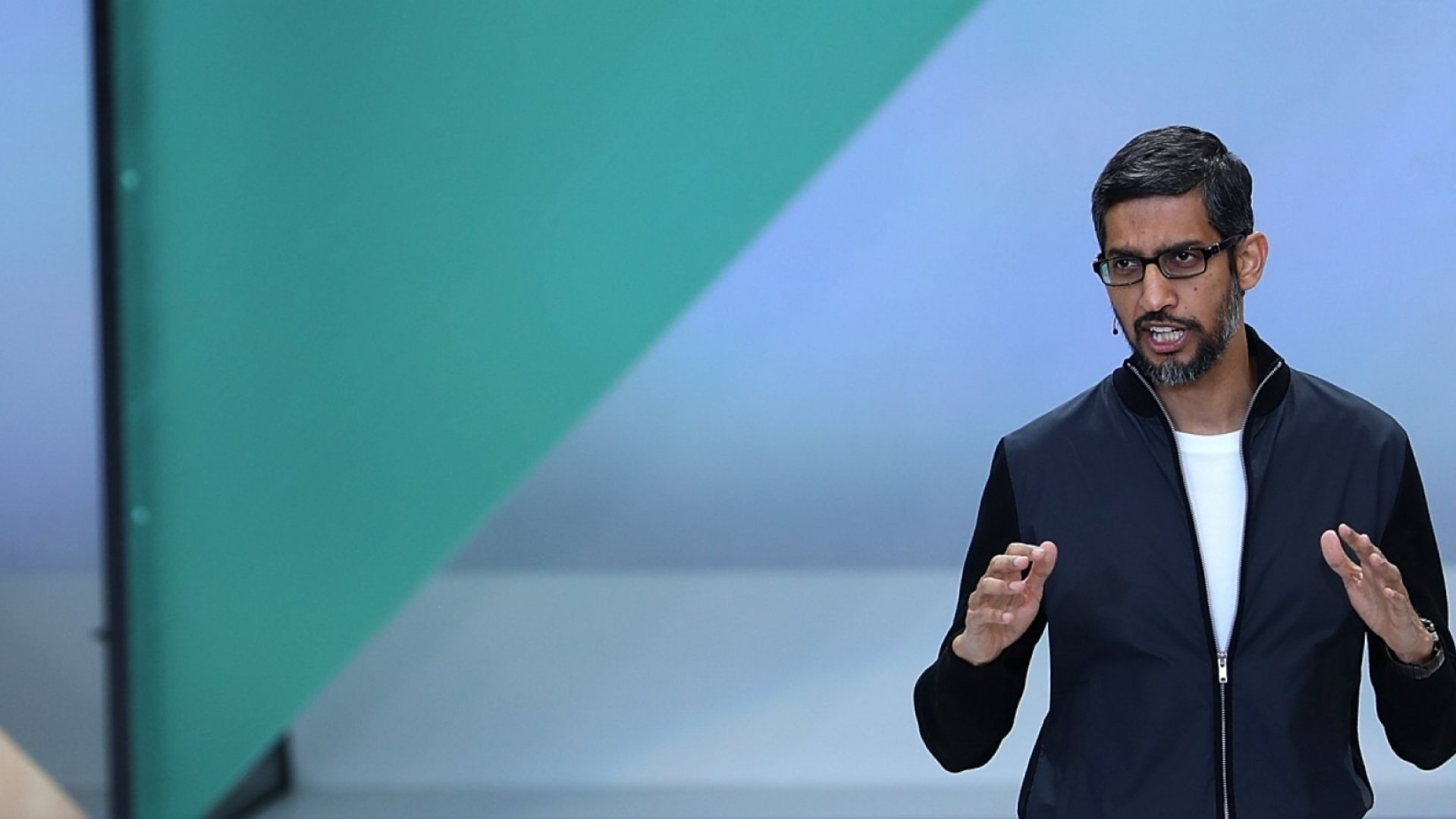 Google CEO Sundar Pichai delivers the keynote address at the Google I/O 2017 Conference at Shoreline Amphitheater on May 17, 2017