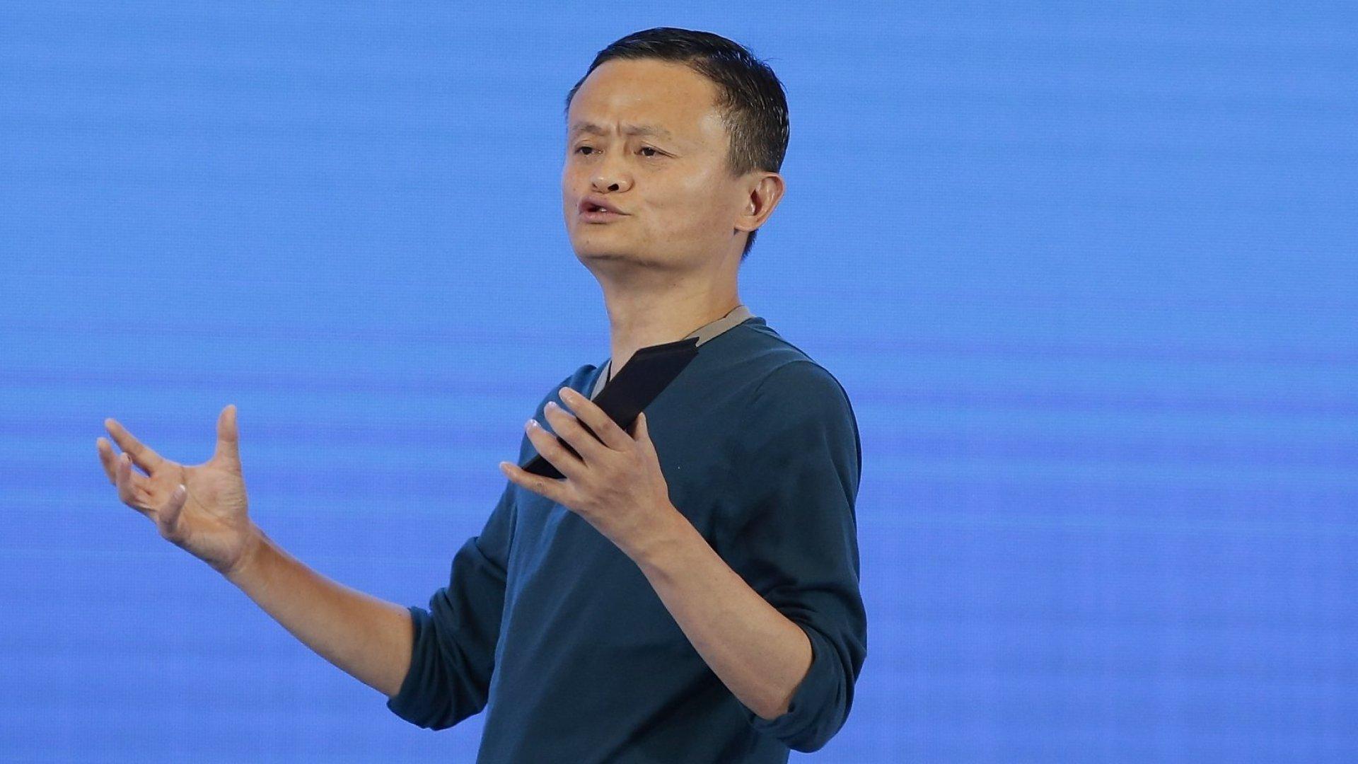 Jack Ma, Executive Chairman of Alibaba Group, speaks during the 2017 China International Big Data Industry Expo at Guiyang International Eco-Conference Center on May 26, 2017 in Guiyang, China.