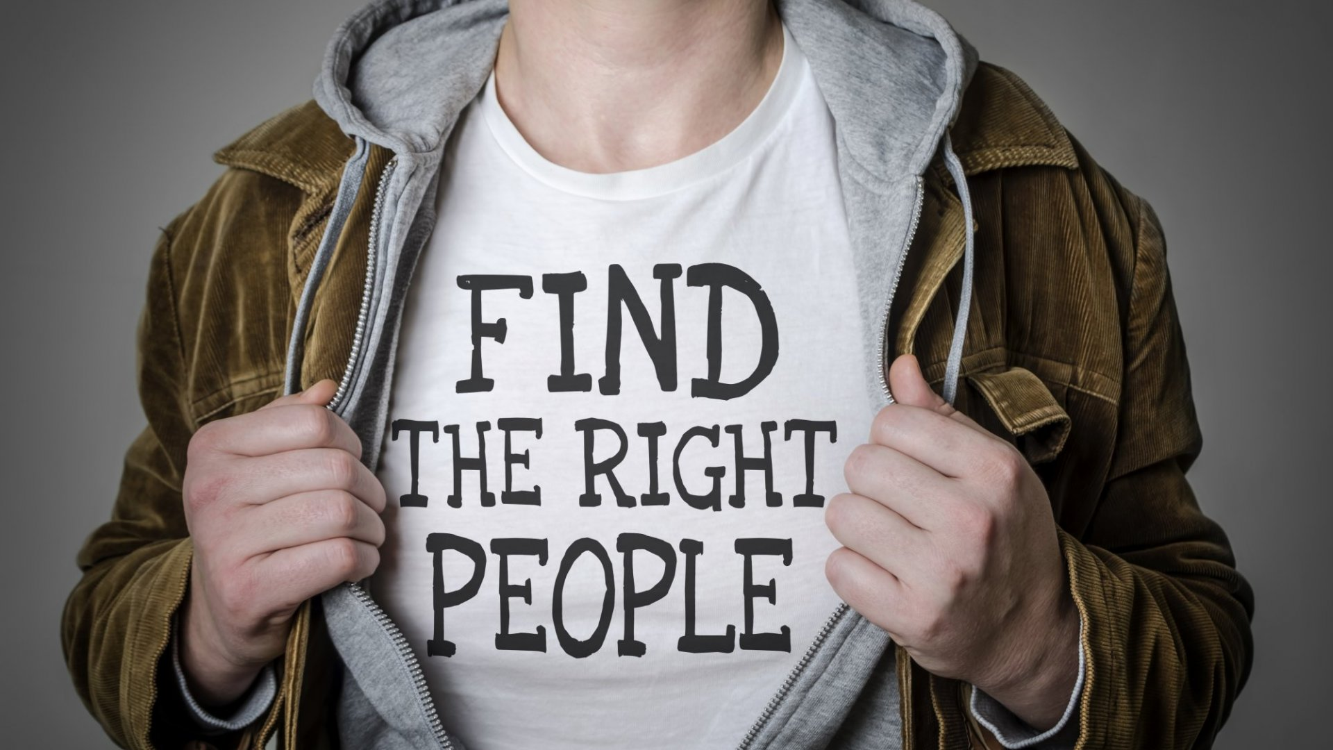"""man with """"Find The Right People"""" shirt on"""