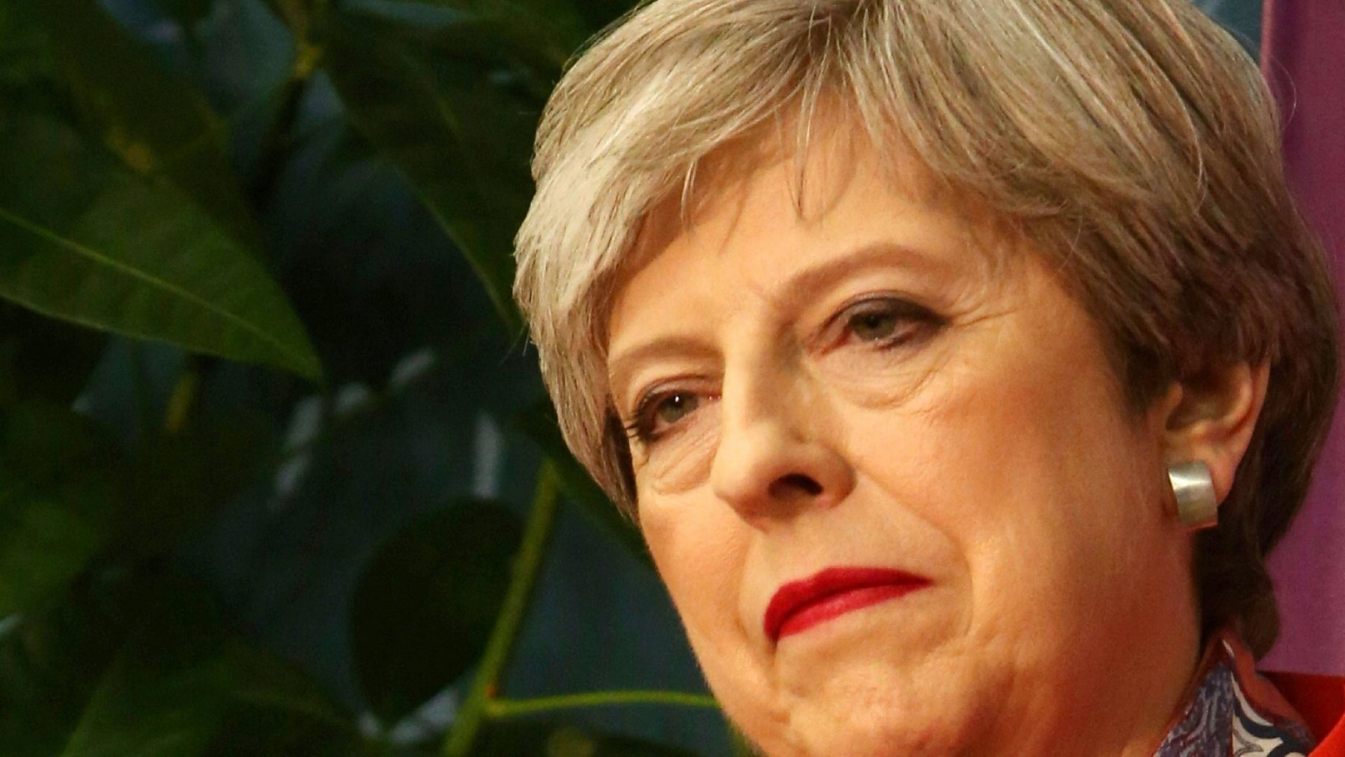 British Prime Minister Theresa May, after exit polls predicted her party would lose seats in Parliament.