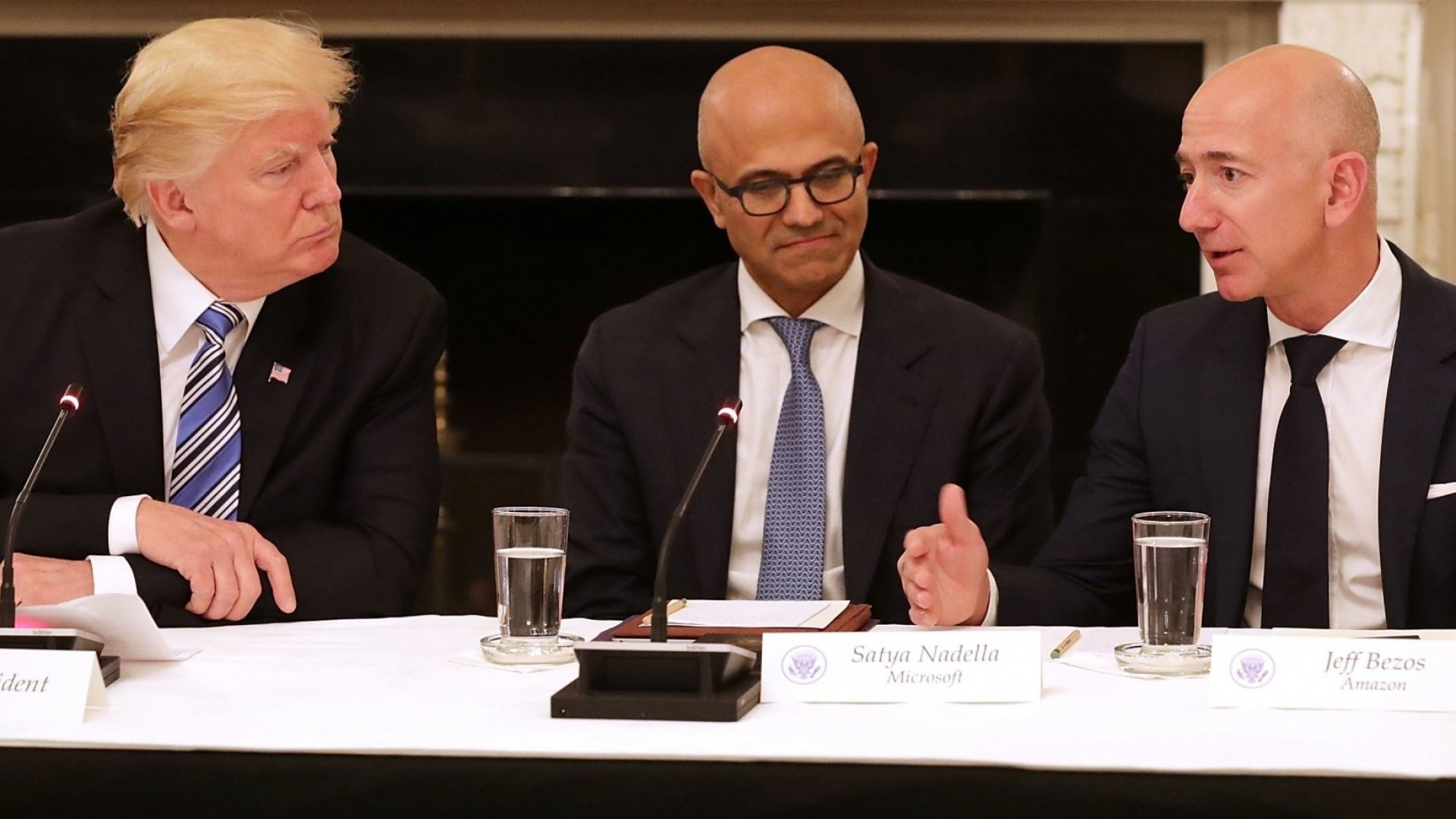 President Donald Trump, Microsoft CEO Satya Nadella, and Amazon founder and CEO Jeff Bezos.