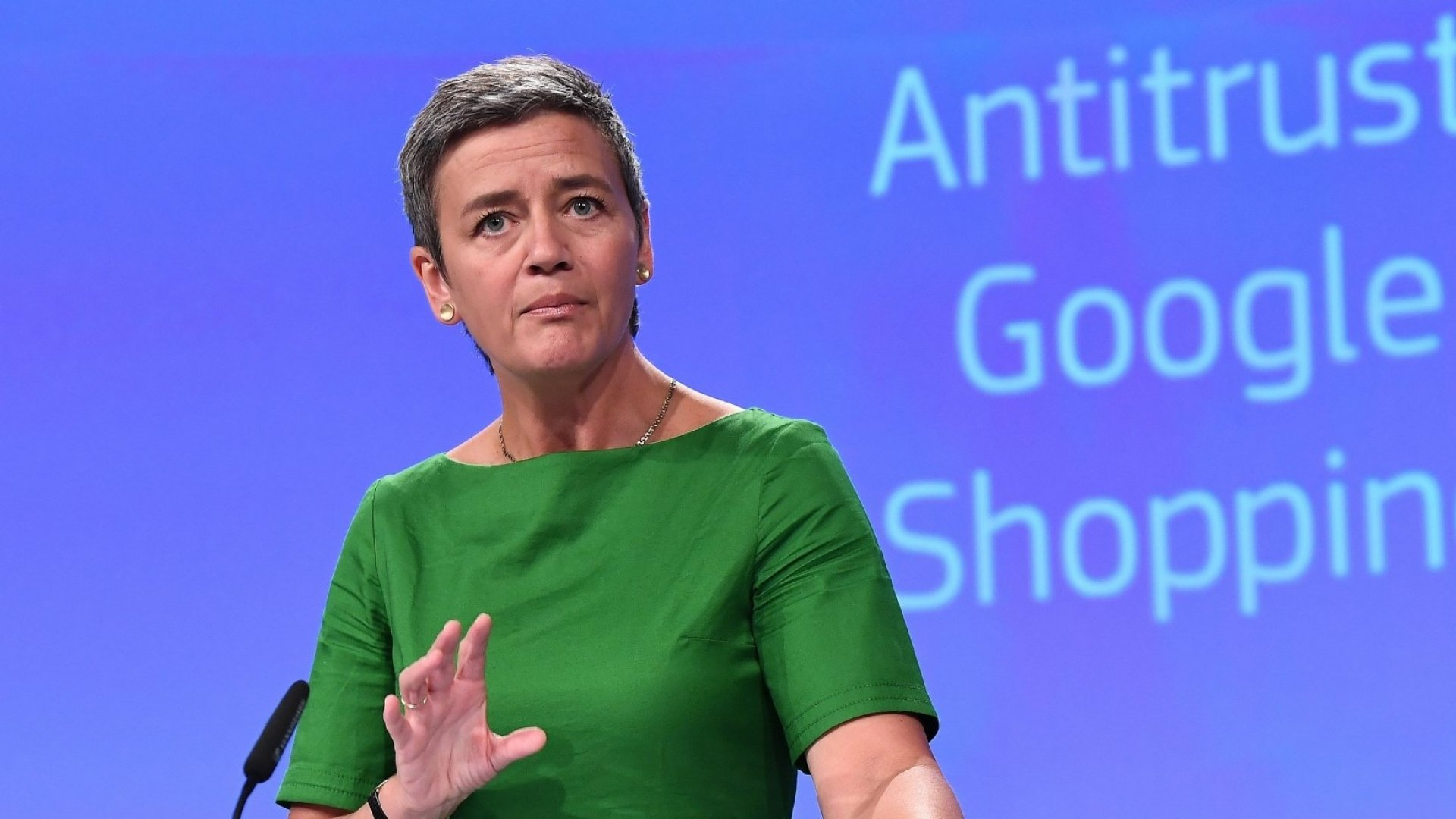 European Commissioner for Competition Margrethe Vestager addresses a press conference on an antitrust case against US search engine Google at the European Commission in Brussels, on June 27, 2017.