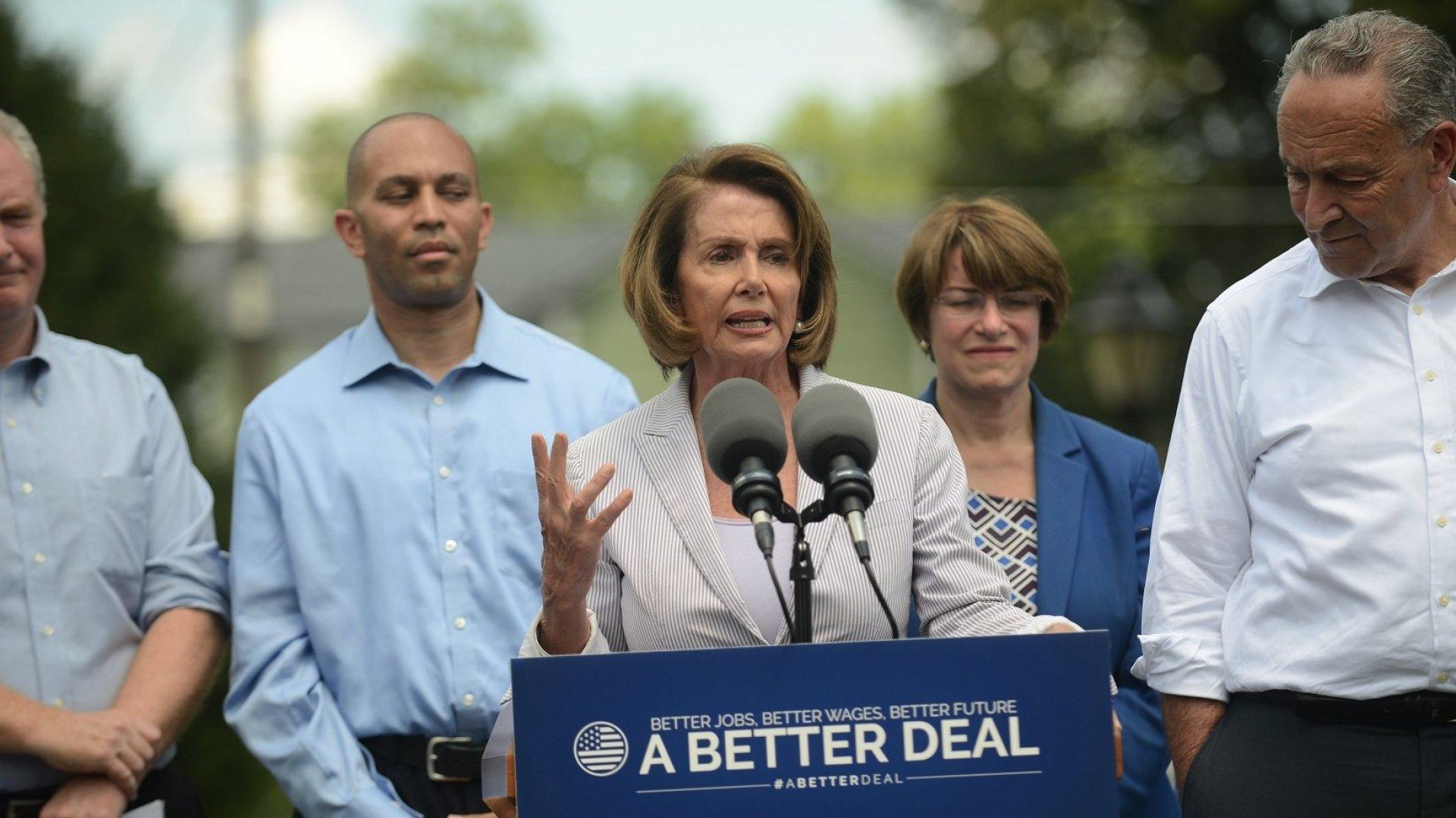 From left: Rep. Chris Van Hollen (D-Md.), Rep. Hakeem Jeffries (D-N.Y.), House Minority Leader Nancy Pelosi (D-Calif.), Sen. Amy Klobuchar (D-Minn.), and Senate Minority Leader Chuck Schumer (D-N.Y.) in Berryville, Va., on July 24.