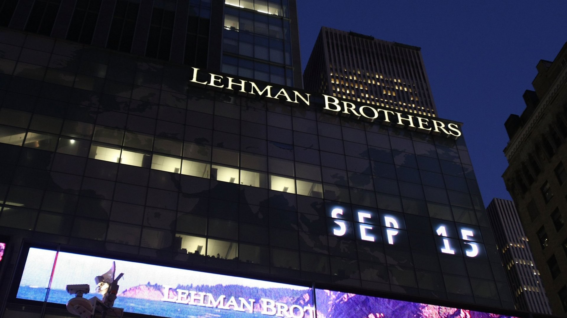 Lehman Brothers Holdings Inc. September 15, 2008 in New York City. Lehman Brothers filed a Chapter 11 bankruptcy petition in U.S. Bankruptcy Court after attempts to rescue the storied financial firm failed. (Photo by Mario Tama/Getty Images)