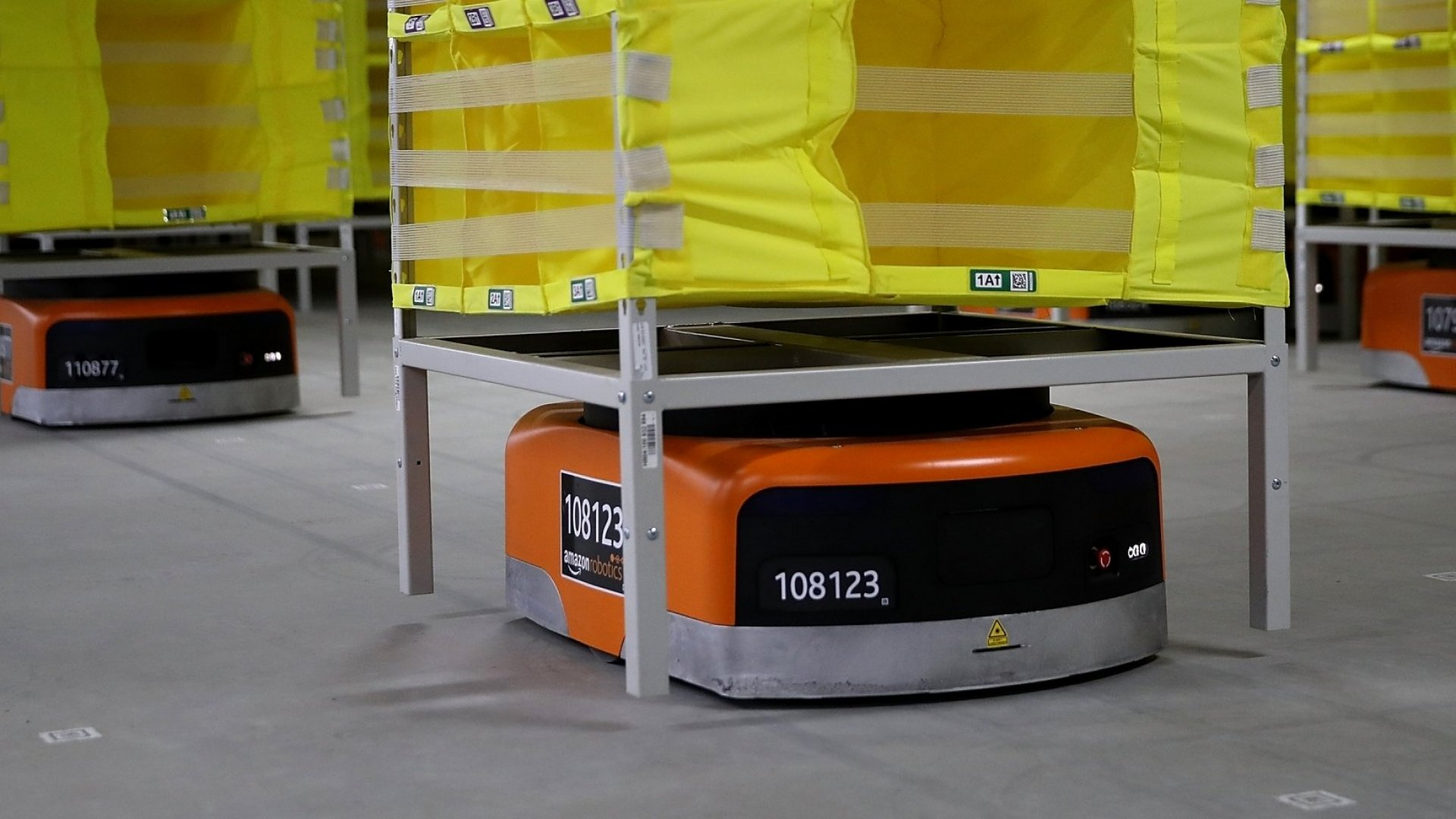 Robotic technology and vision systems are tested at a new Amazon fulfillment center on August 10, 2017 in Sacramento, California.