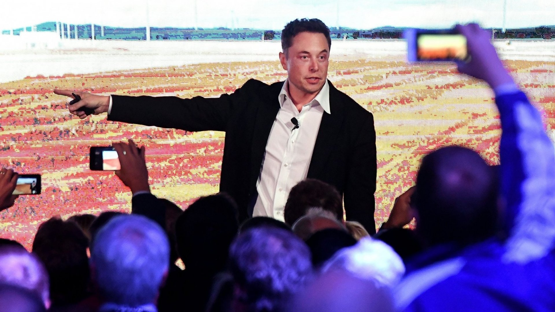 Elon Musk during his presentation at the Tesla Powerpack Launch Event at Hornsdale Wind Farm on September 29, 2017 in Adelaide, Australia.