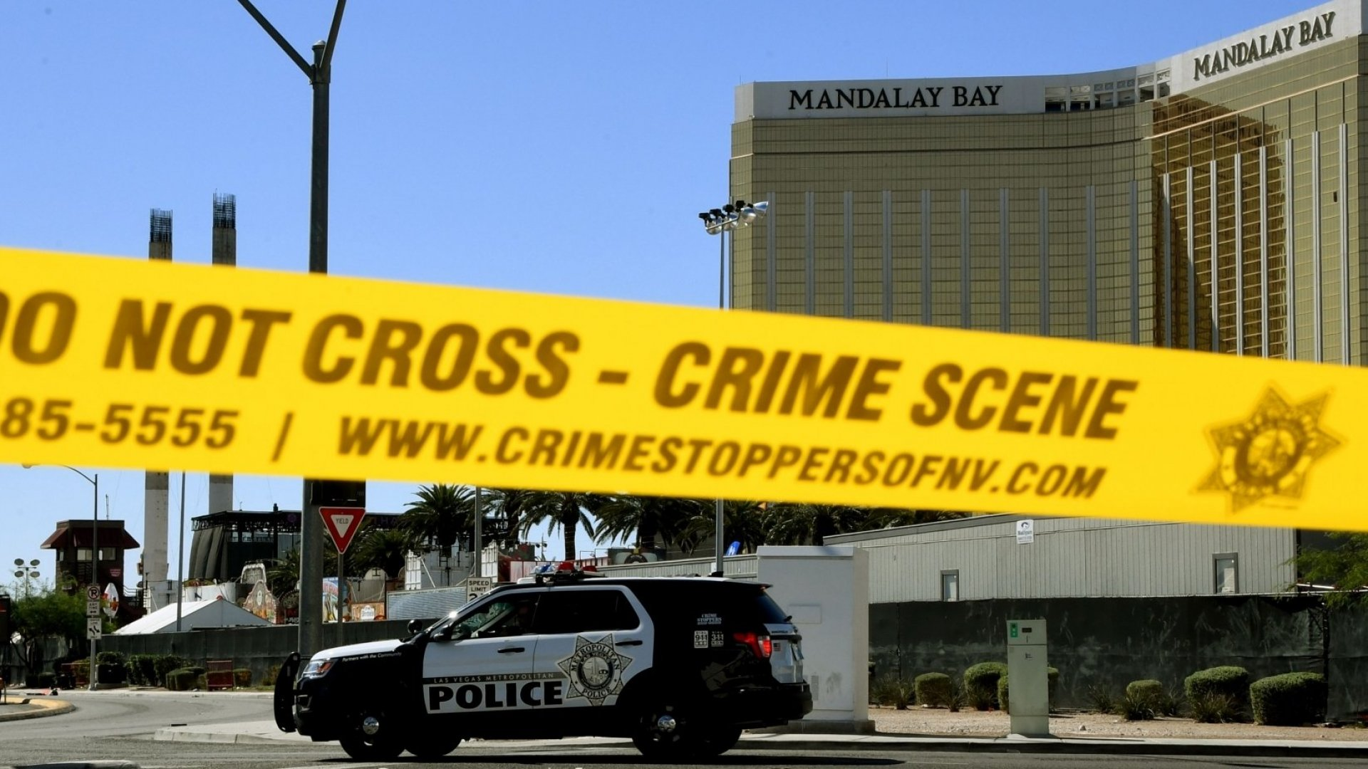Police tape around the Mandalay Bay after the shooting.