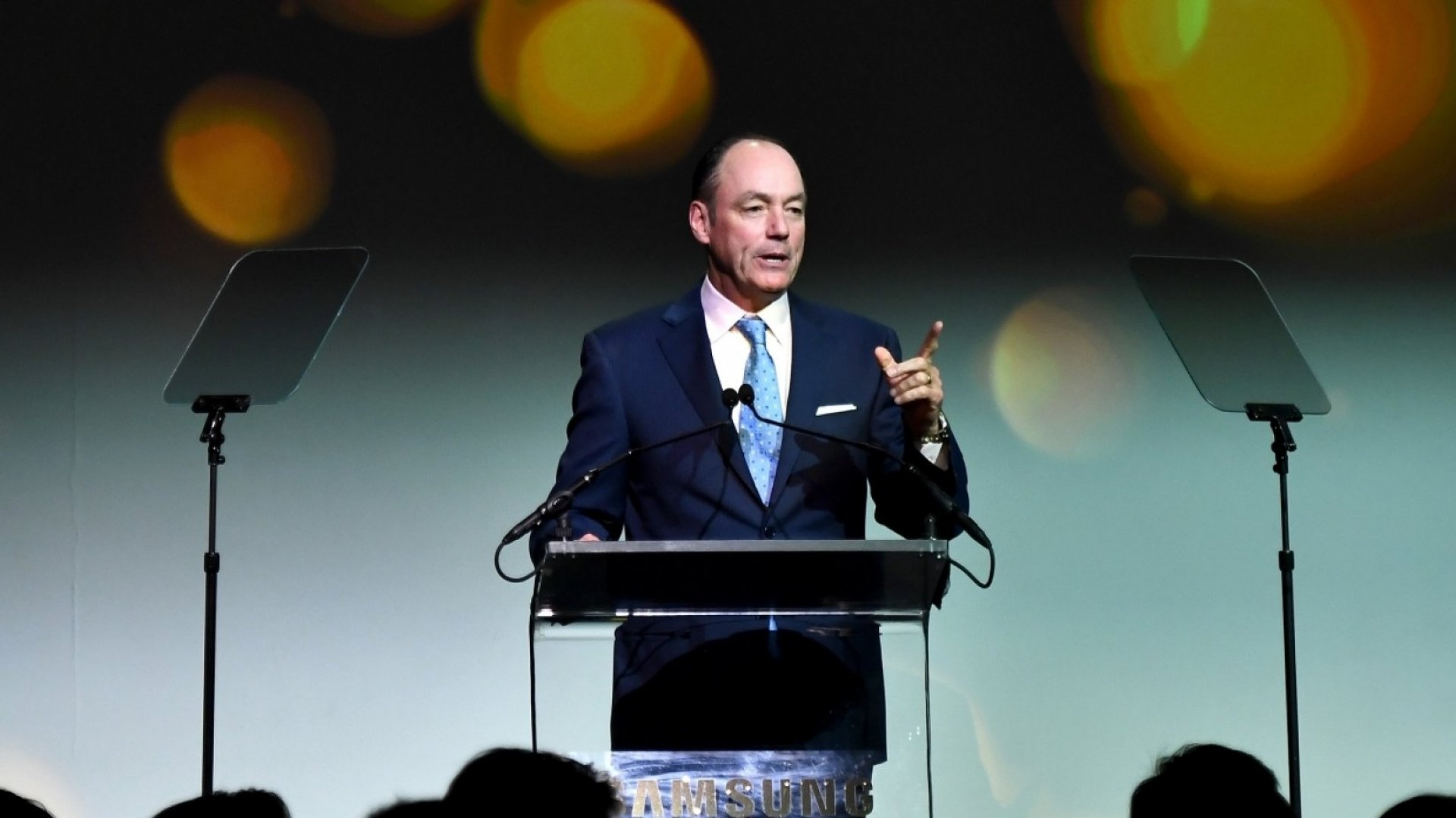 President and CEO Samsung Electronics North America Tim Baxter speaks onstage during the Samsung annual charity gala 2017