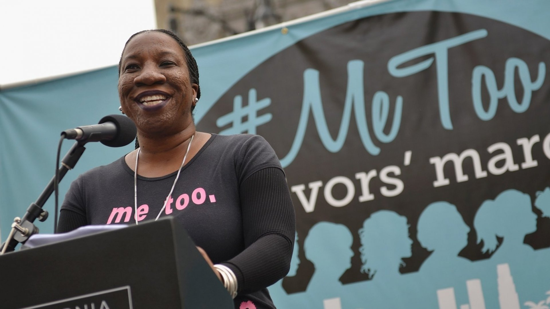 """Activist Tarana Burke, the original creator of the """"Me Too"""" hashtag, speaks at the #MeToo Survivors March & Rally on November 12, 2017, in Hollywood."""