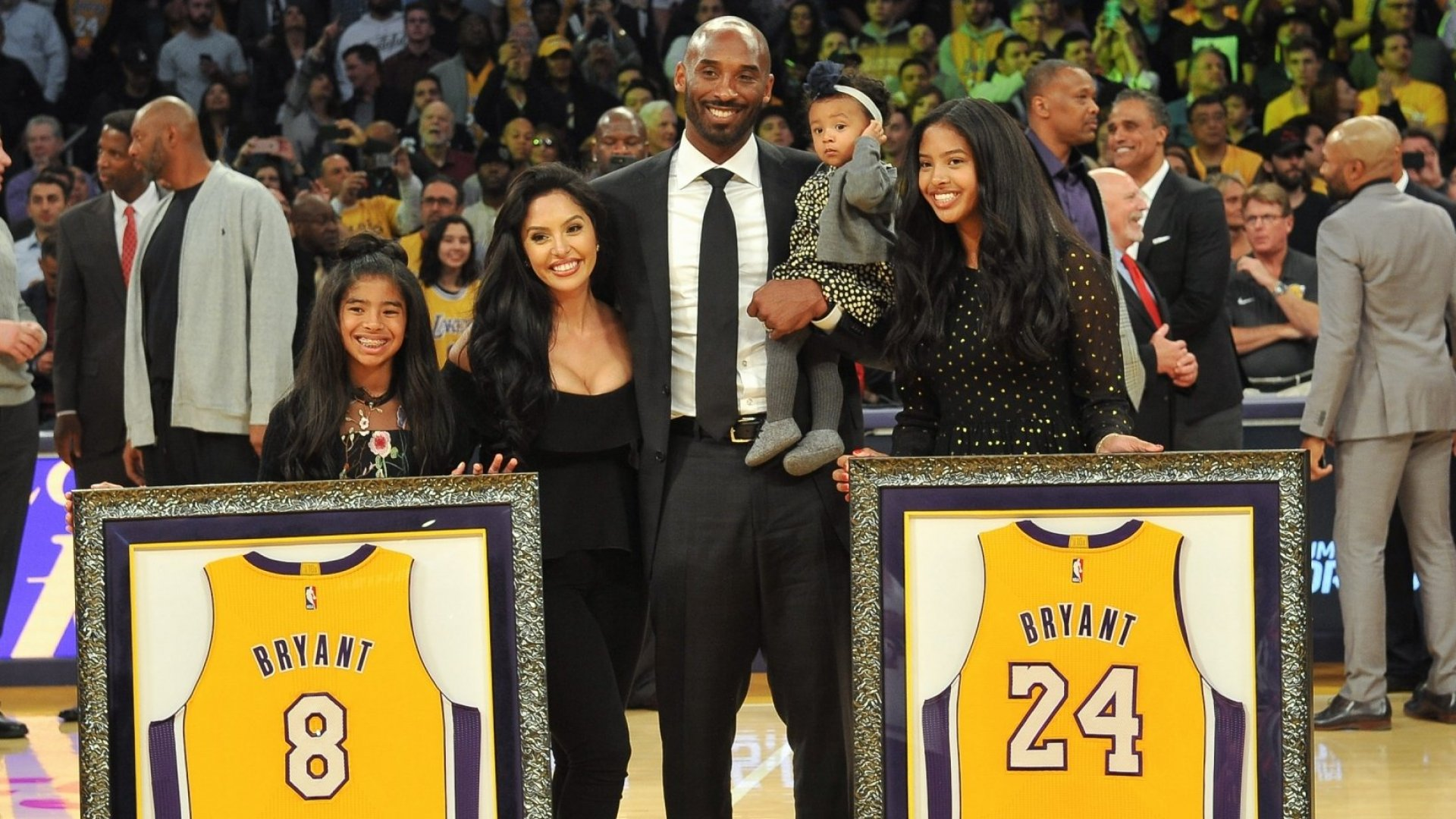 Kobe Bryant and his family at Staples Center.