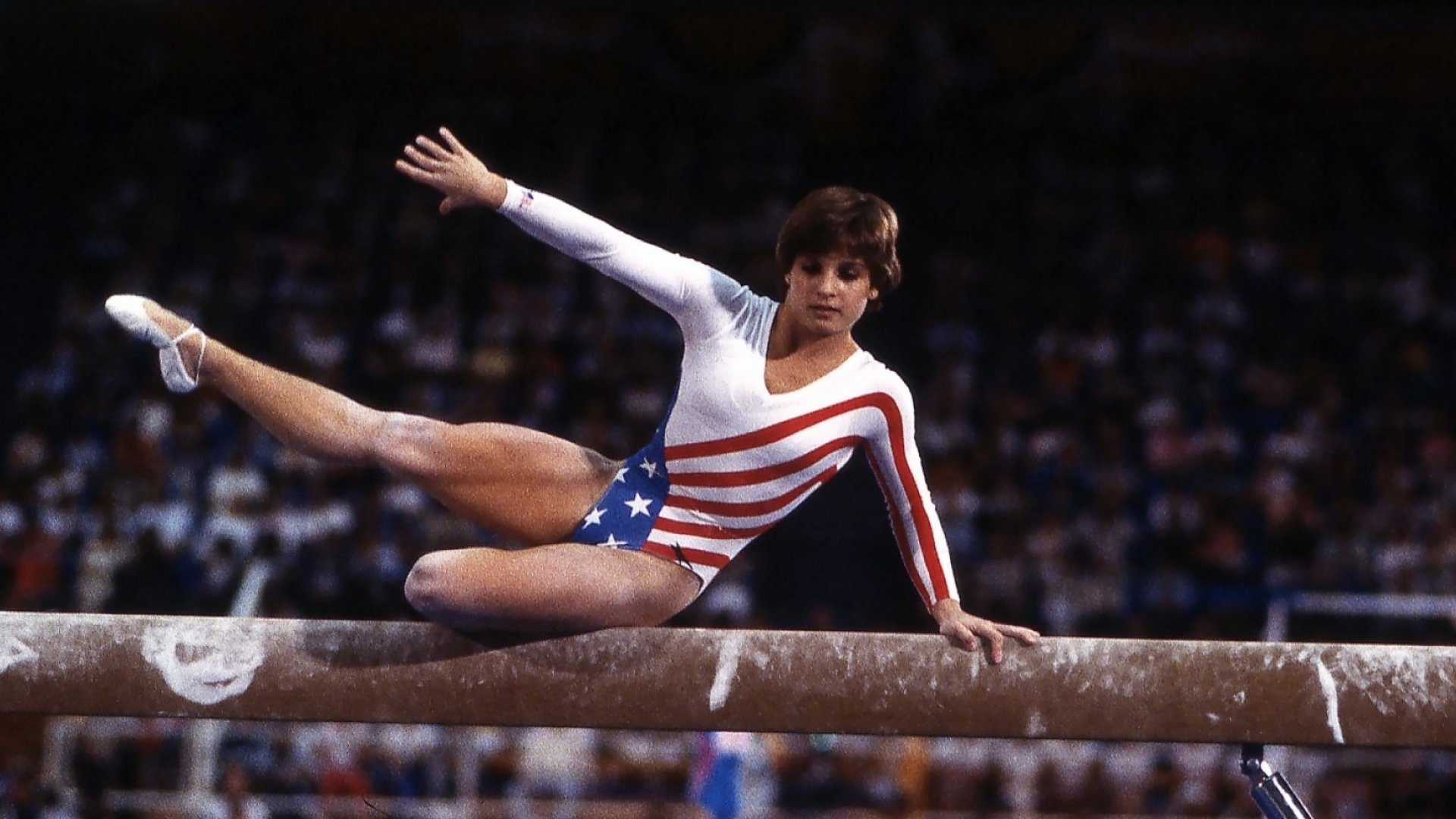 Mary Lou Retton of the United States in action on the balance beam during the Summer Olympics in Los Angeles, California.