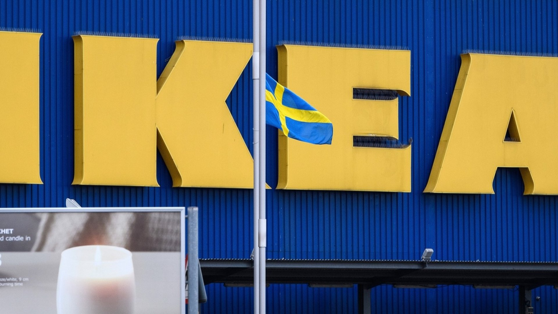 The Swedish flag is flown at half-mast outside a branch of the Ikea furniture store as a tribute to company founder Ingvar Kamprad, on January 29, 2018, in Wembley, England. Kamprad, who died on January 27, aged 91, started the company in Sweden when he was just 17 years old.