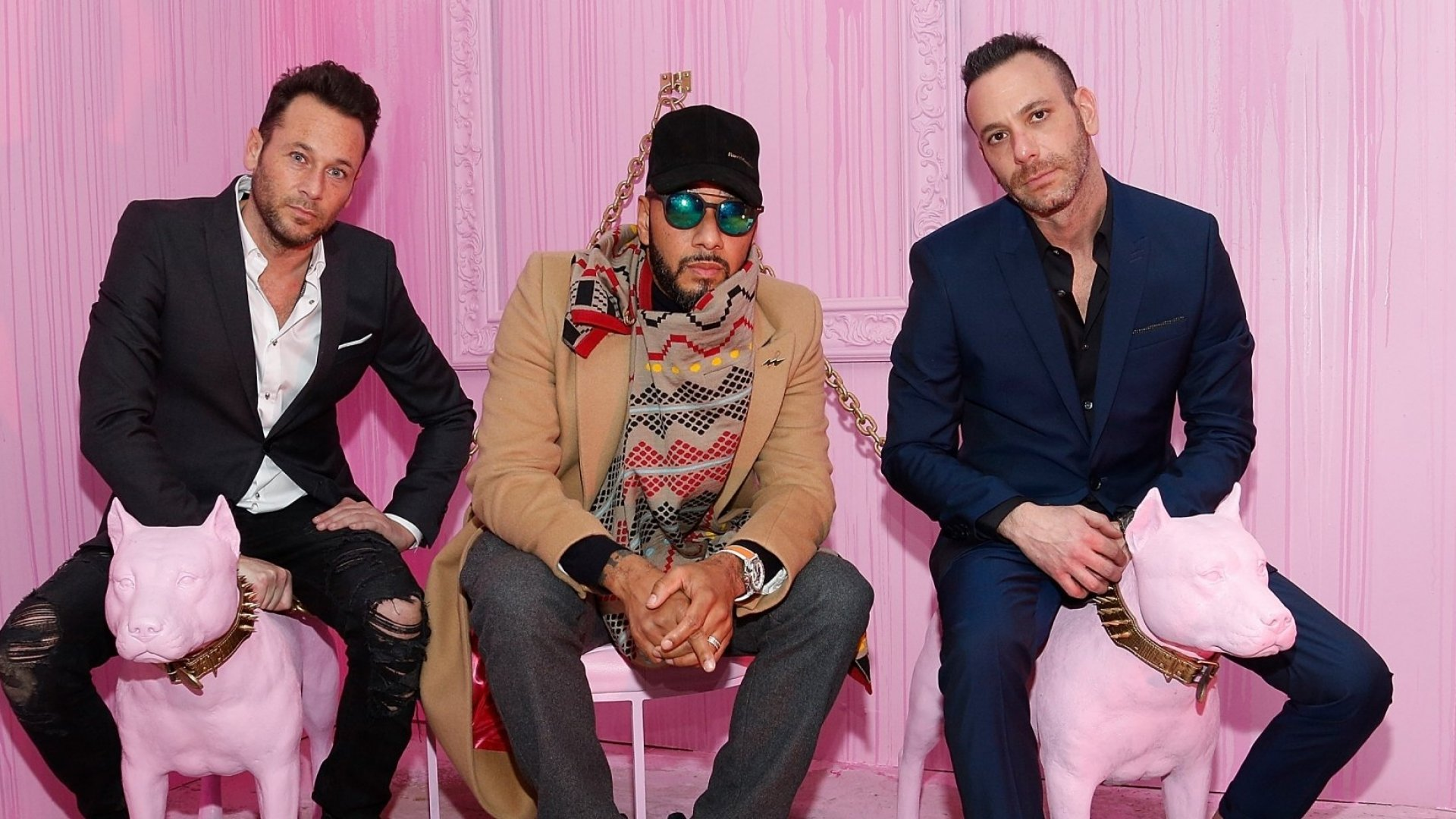 Phil Reese, hip hop artist Swizz Beatz, and artist Jeremy Penn attend Saks Fifth Avenue And Good Luck Dry Cleaners Launch Underground Art-Themed Speakeasy, GLDC@Saks.