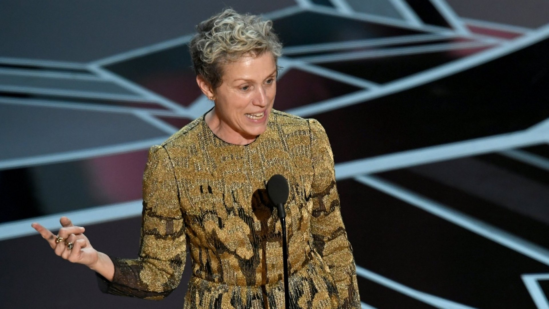 Frances McDormand accepts the Best Actress award for 'Three Billboards Outside Ebbing, Missouri' at the 90th Annual Academy Awards on March 4, 2018.