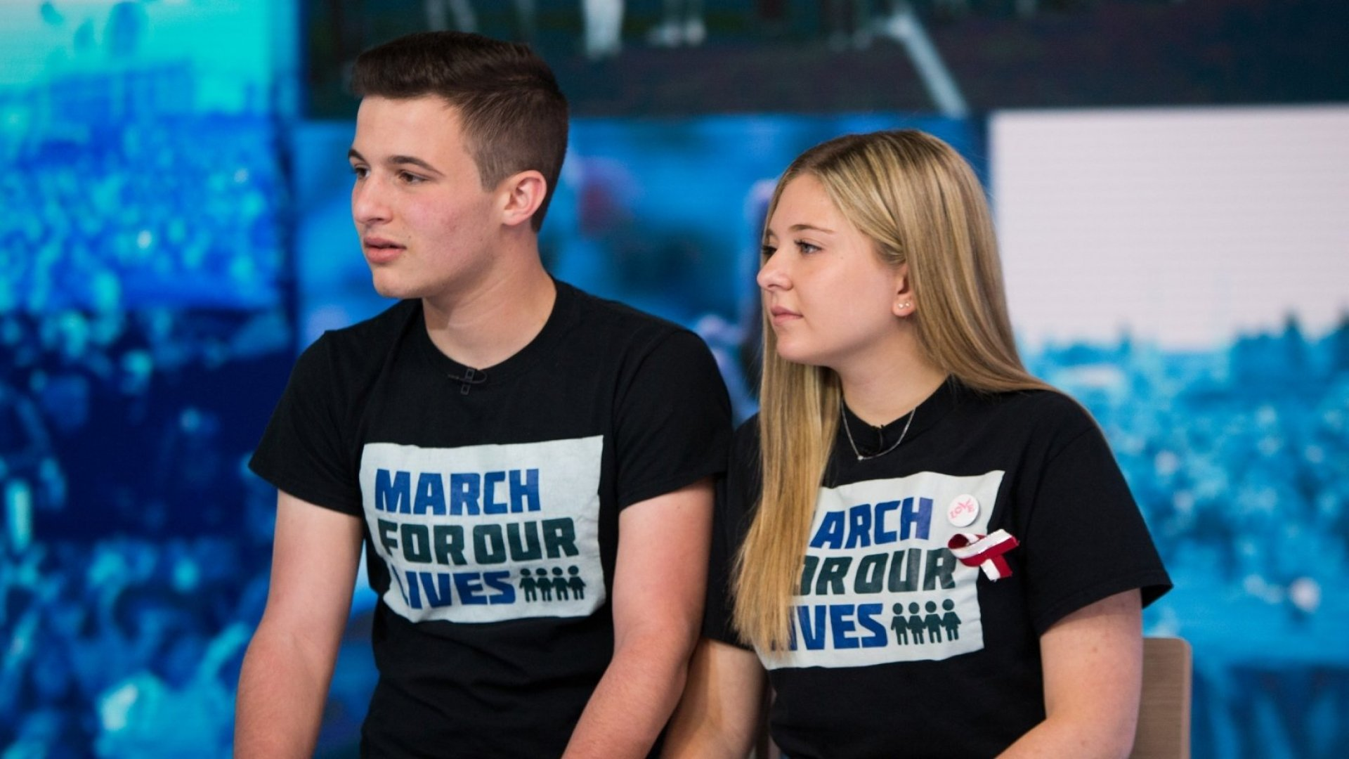 Marjory Stoneman Douglas students Cameron Kasky (left) and Jaclyn Corin from Parkland, Florida.