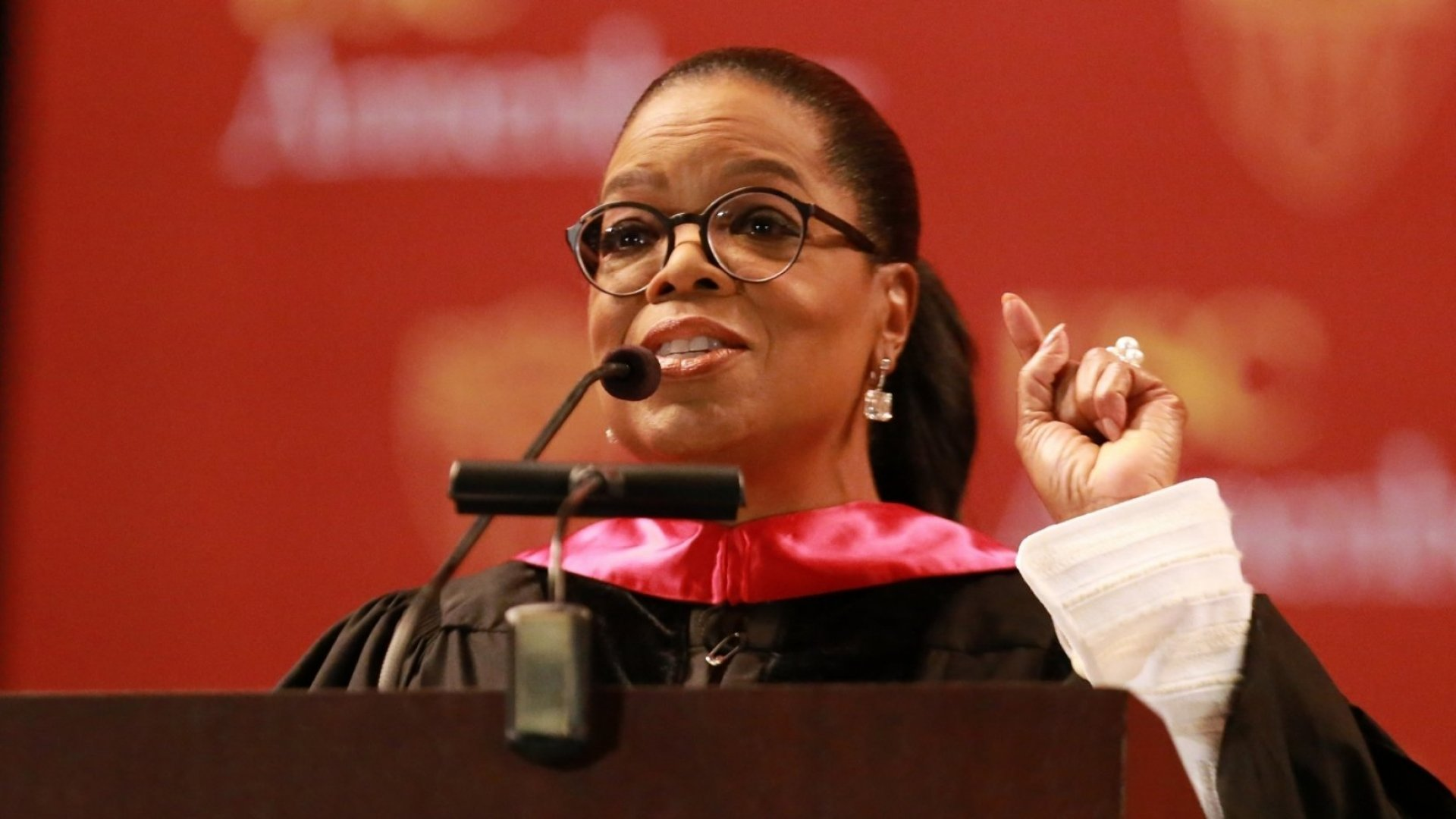 Oprah Winfrey speaks at the USC Annenberg School for Communication and Journalism commencement ceremony at the Shrine Auditorium on May 11, 2018, in Los Angeles.