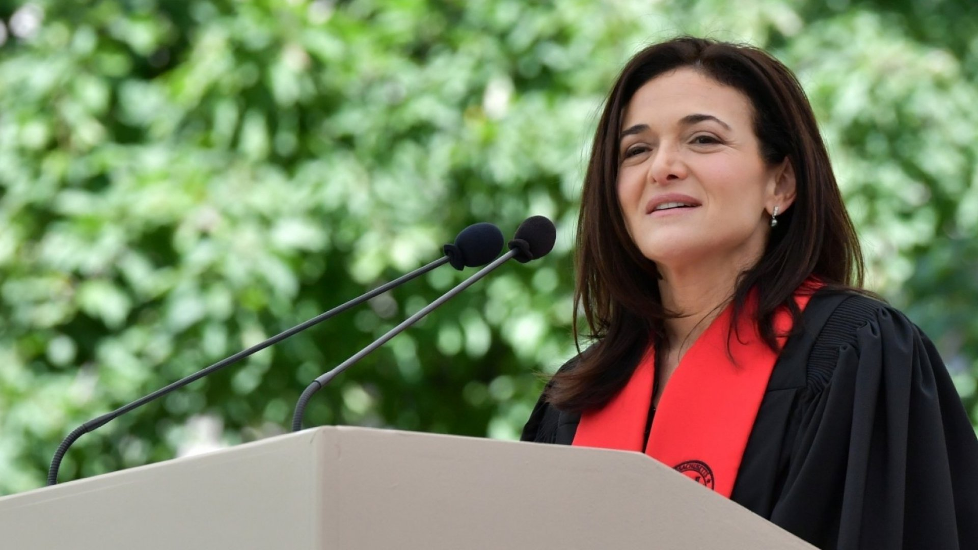 Facebook chief operating officer Sheryl Sandberg gives the address at the 2018 Massachusetts Institute of Technology commencement in Cambridge, Massachusetts, on June 8, 2018.