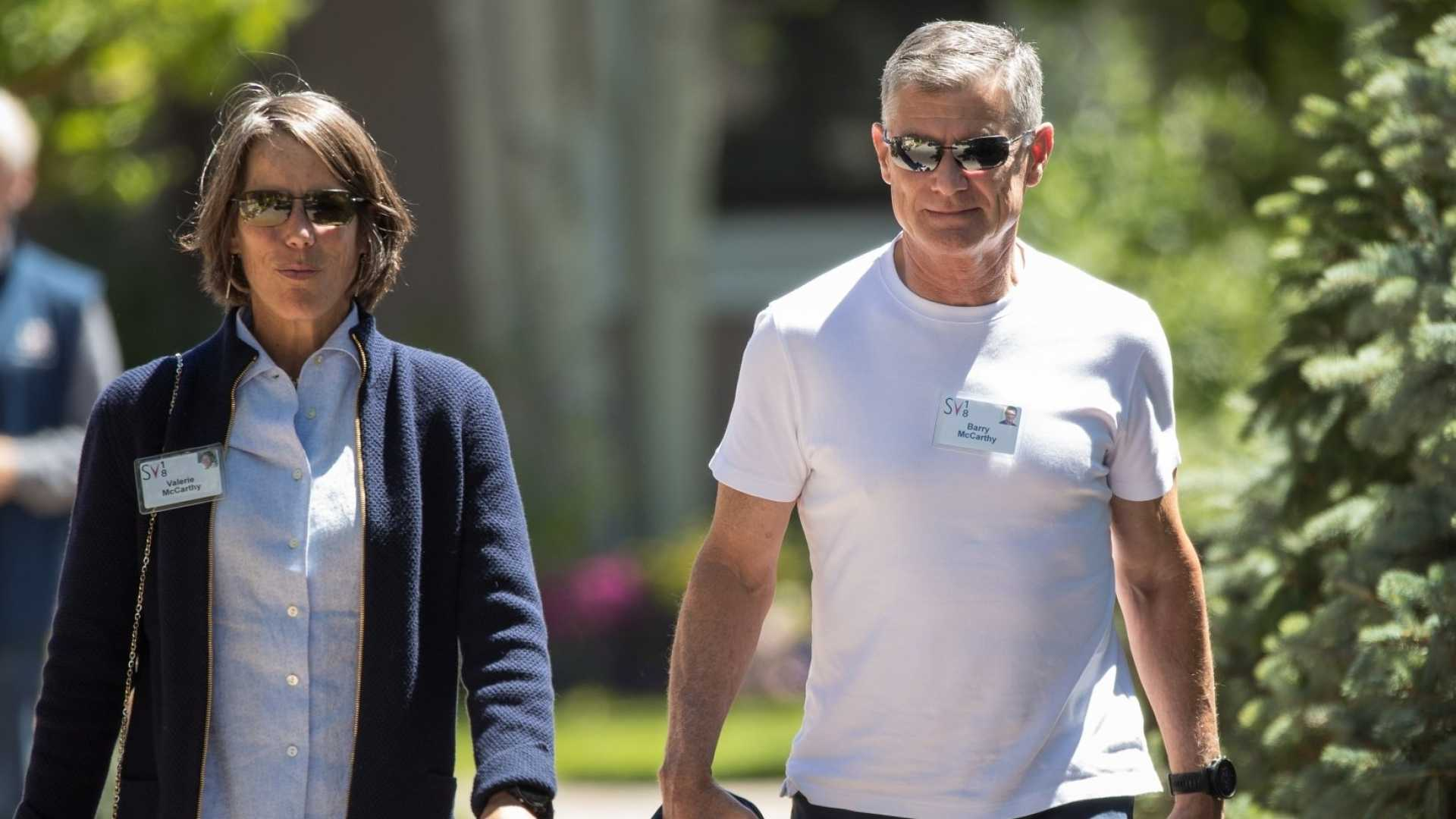 Valerie McCarthy (left) and Spotify CFO Barry McCarthy.