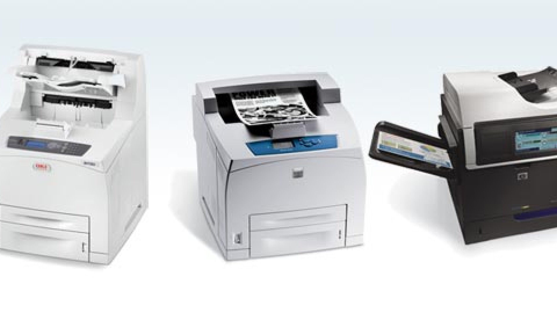 Tired of waiting at the printer? Now there are three speedier options: (from left) the OKI B730DN, the Xerox Phaser 4510/N, and the HP Color LaserJet Enterprise CM4540.