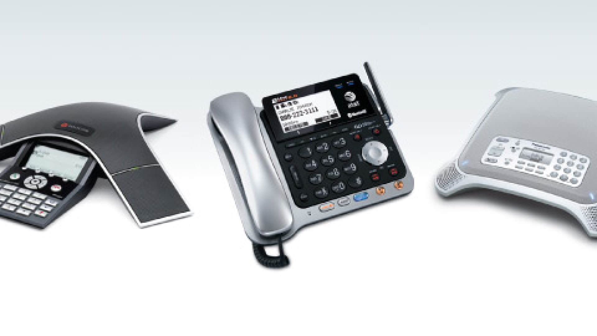 <strong>From Left:</strong> Polycom SoundStation IP 7000, AT&T TL86109, Panasonic KX-NT700 V2