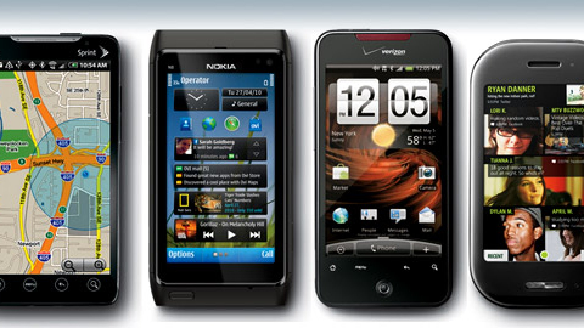 <strong>From left to right:</strong> HTC EVO 4G; NOKIA N8; HTC DROID INCREDIBLE; KIN TWO