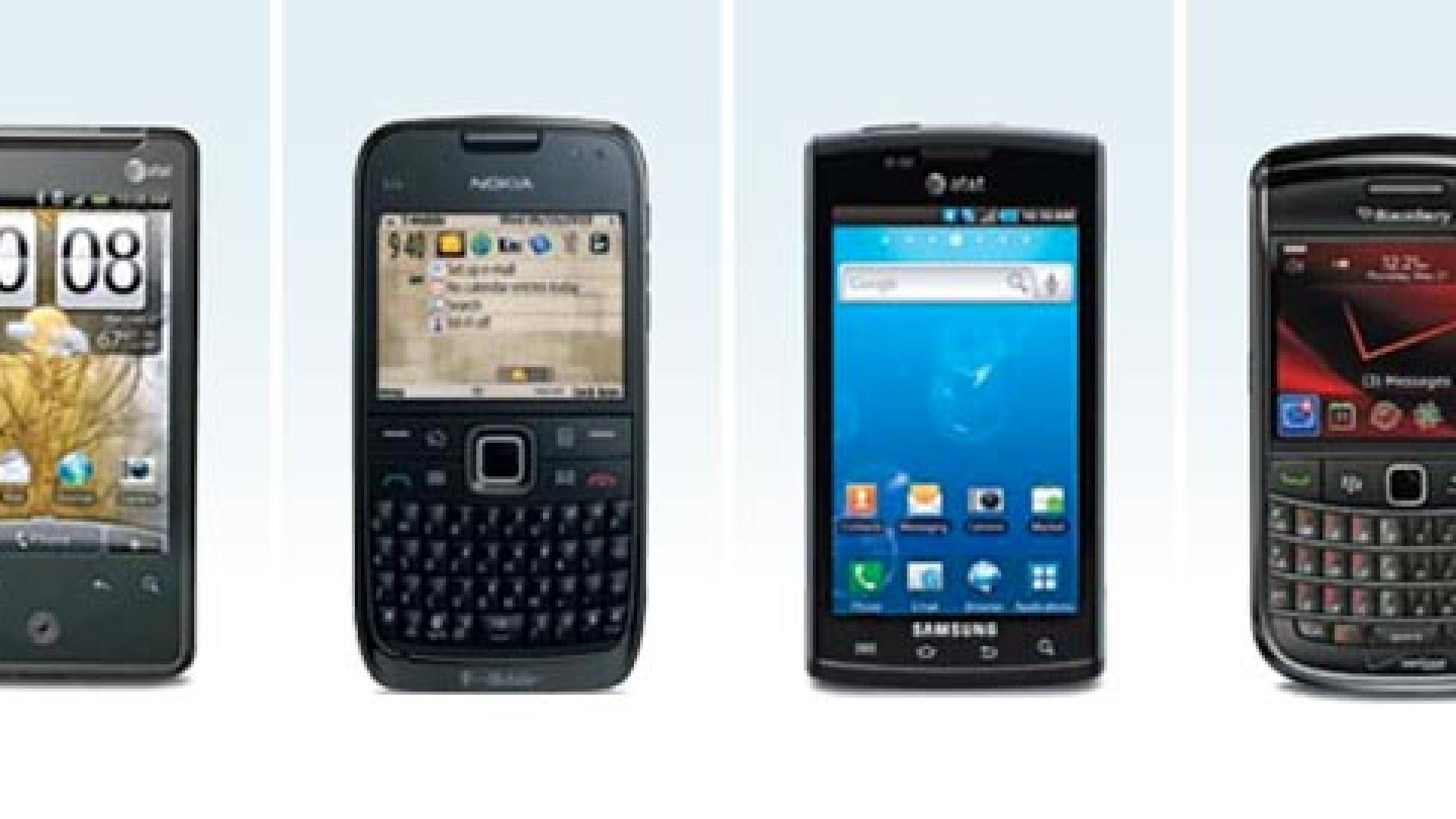 From left: HTC Aria; Nokia E73 Mode; Samsung Captivate; BlackBerry Bold 9650