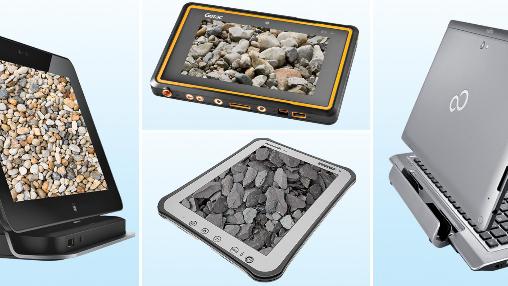 Clockwise: Dell Latitude 10, Getac Z710, Fujitsu Stylistic Q702, Panasonic Toughpad FZ-A1.