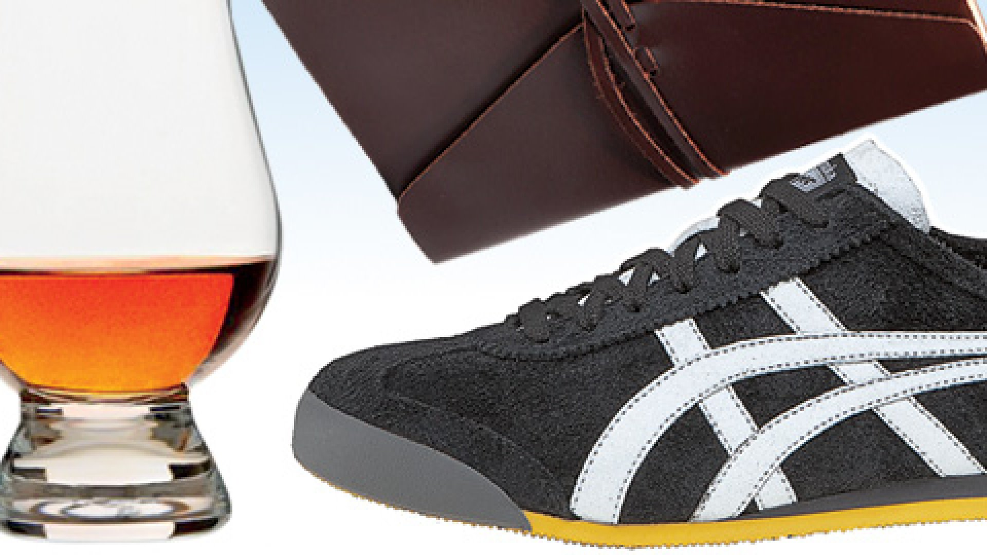 From left: Traditional Lead-Free-Crystal Glencairn Glass, Brown Bombay Tie Journal, Asics Onitsuka Tiger Mexico 66.