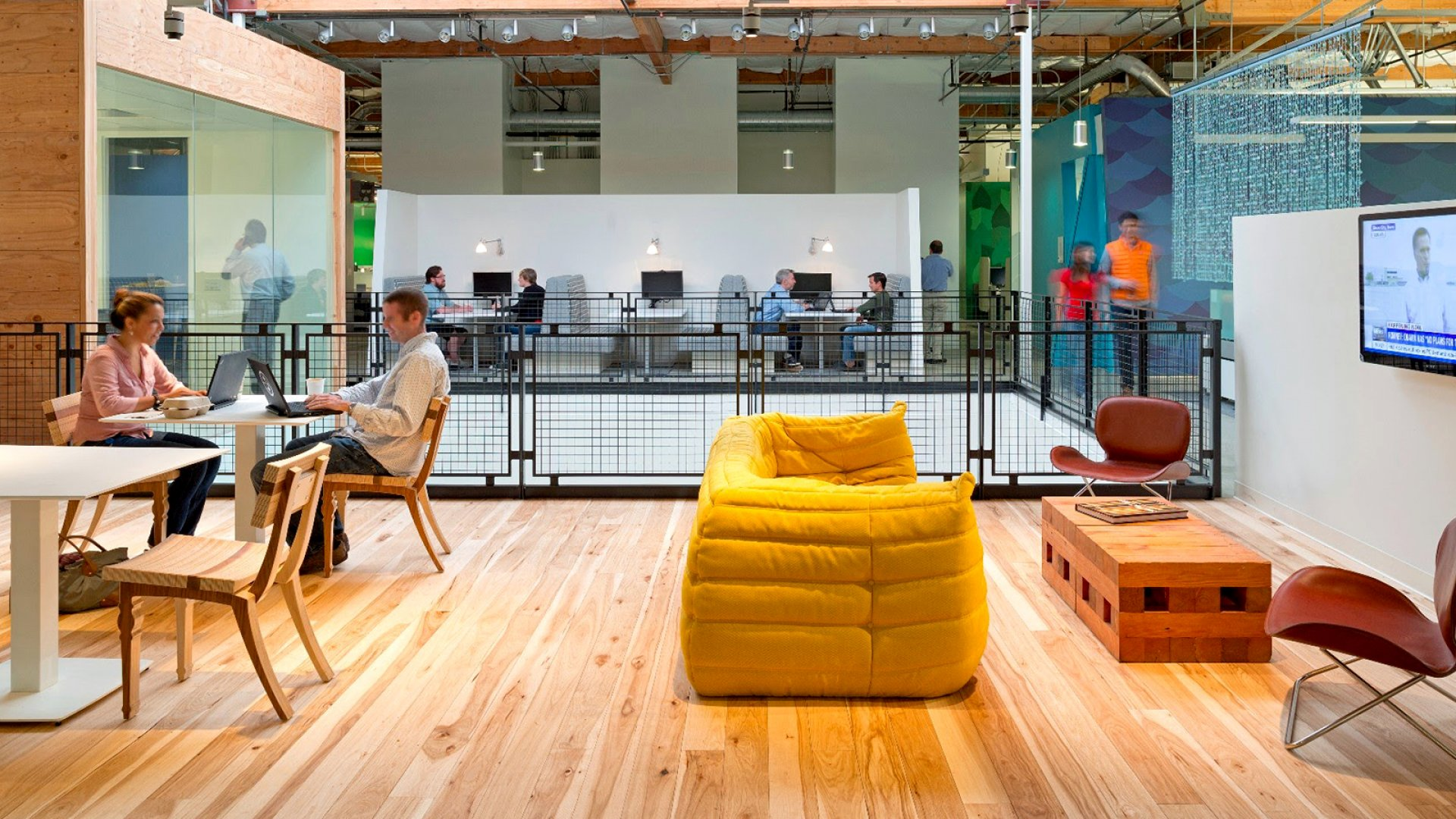 Common areas in the Google Mountain View Campus.