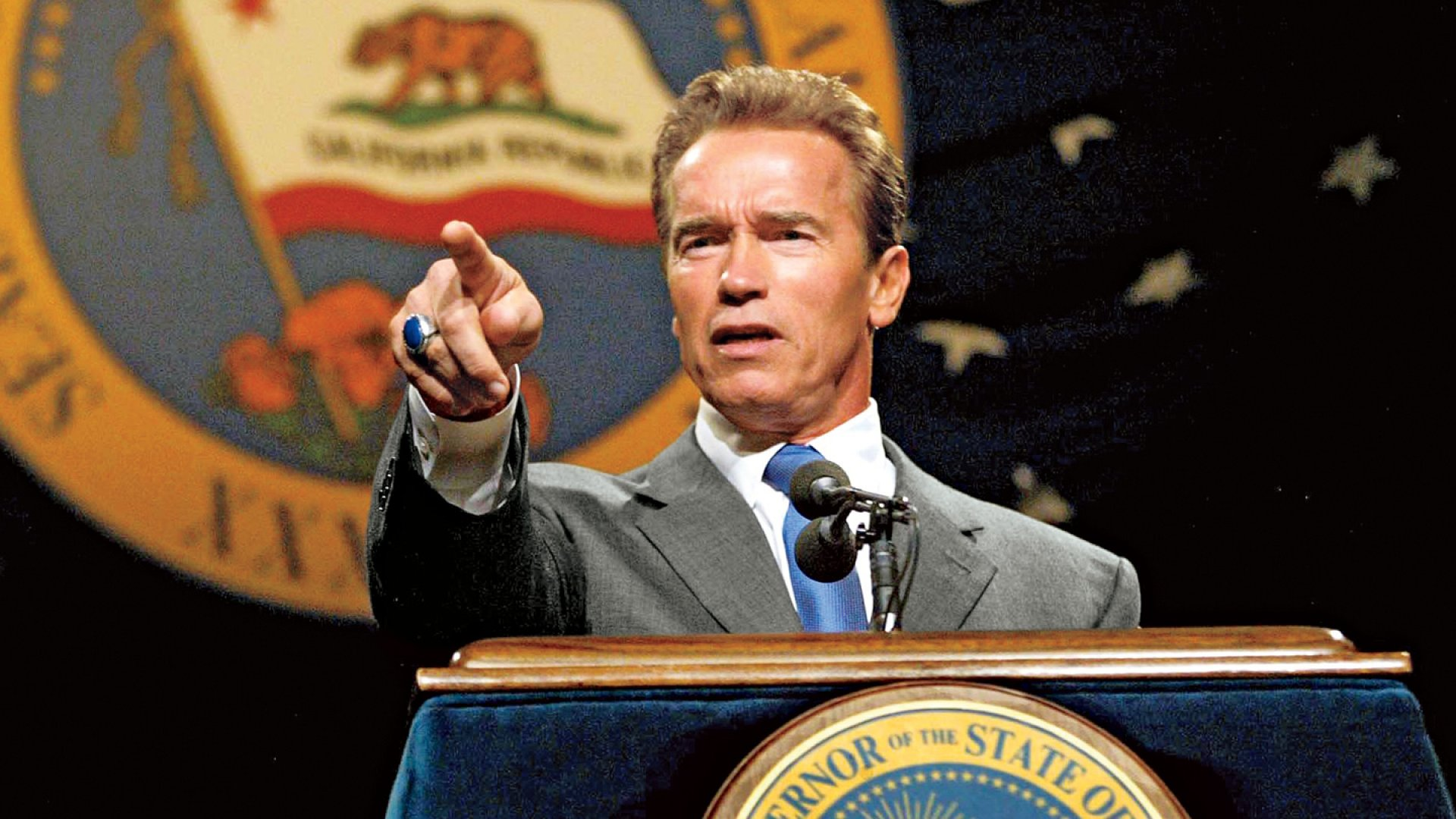 Will he be terminated? Governor Schwarzenegger hopes business-savvy voters will recall that he reformed the workers' comp system.