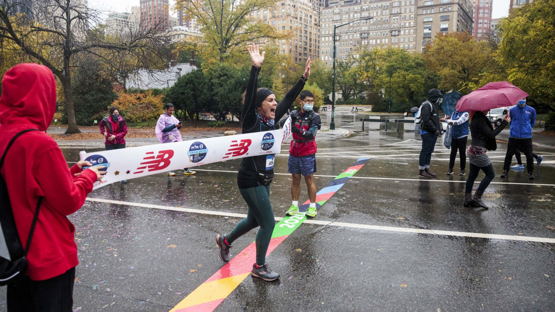A touch of realism is added with a tape across what would have been, if not for its cancellation, the Central Park finish line of the 2020 New York City Marathon.