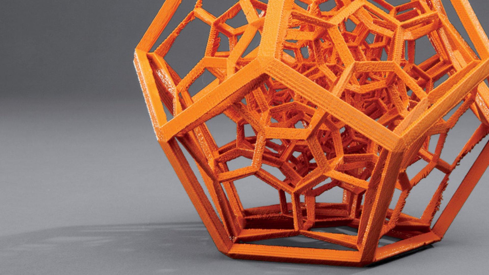 <b>Just Press Print</b> A sculpture made by a MakerBot 3-D printer.