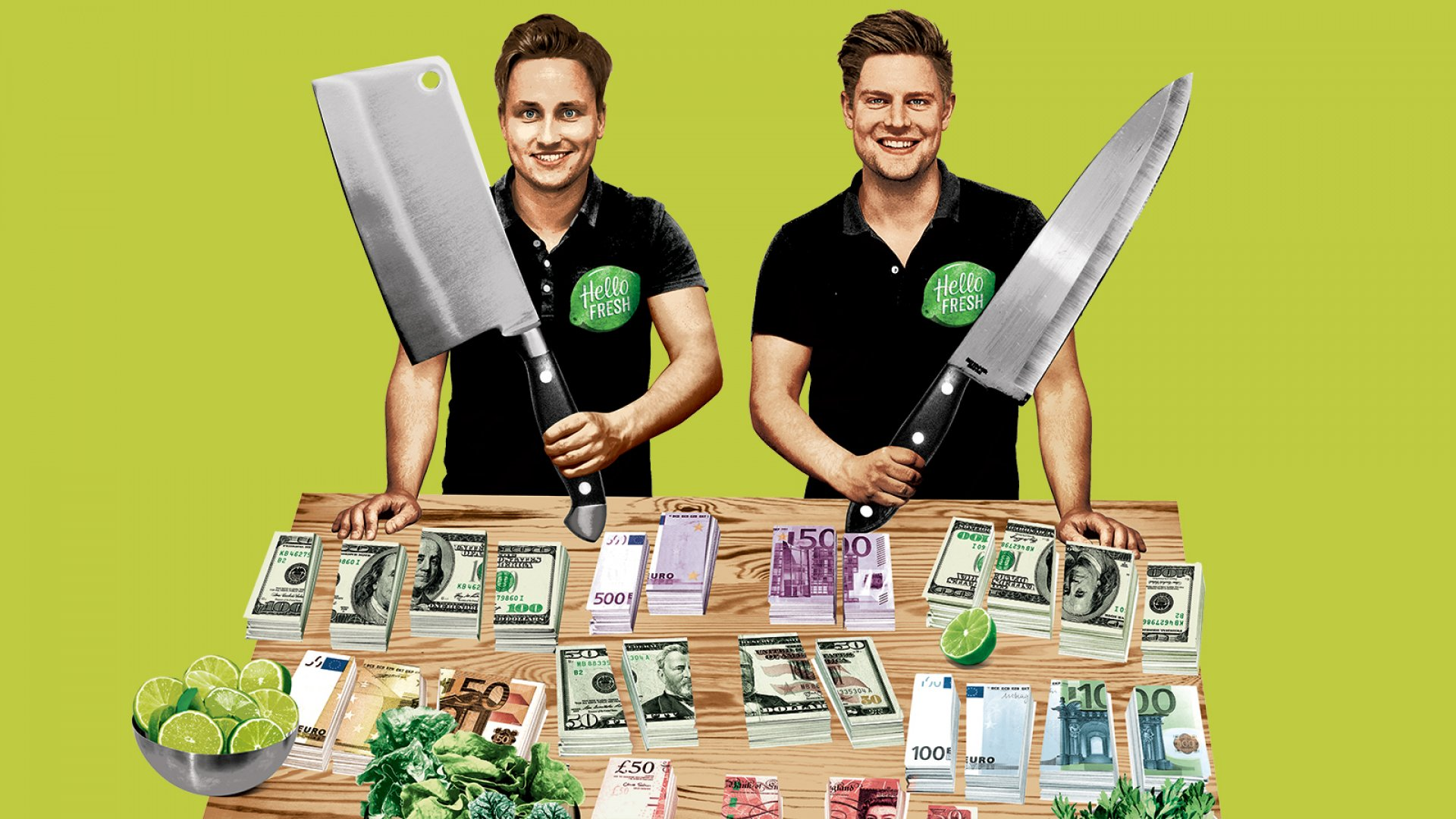 Dominik Richter (left) and Thomas Griesel built a $2.3 billion public company funded by hundreds of millions of dollars, but critics say the economics of meal kits aren't sustainable.