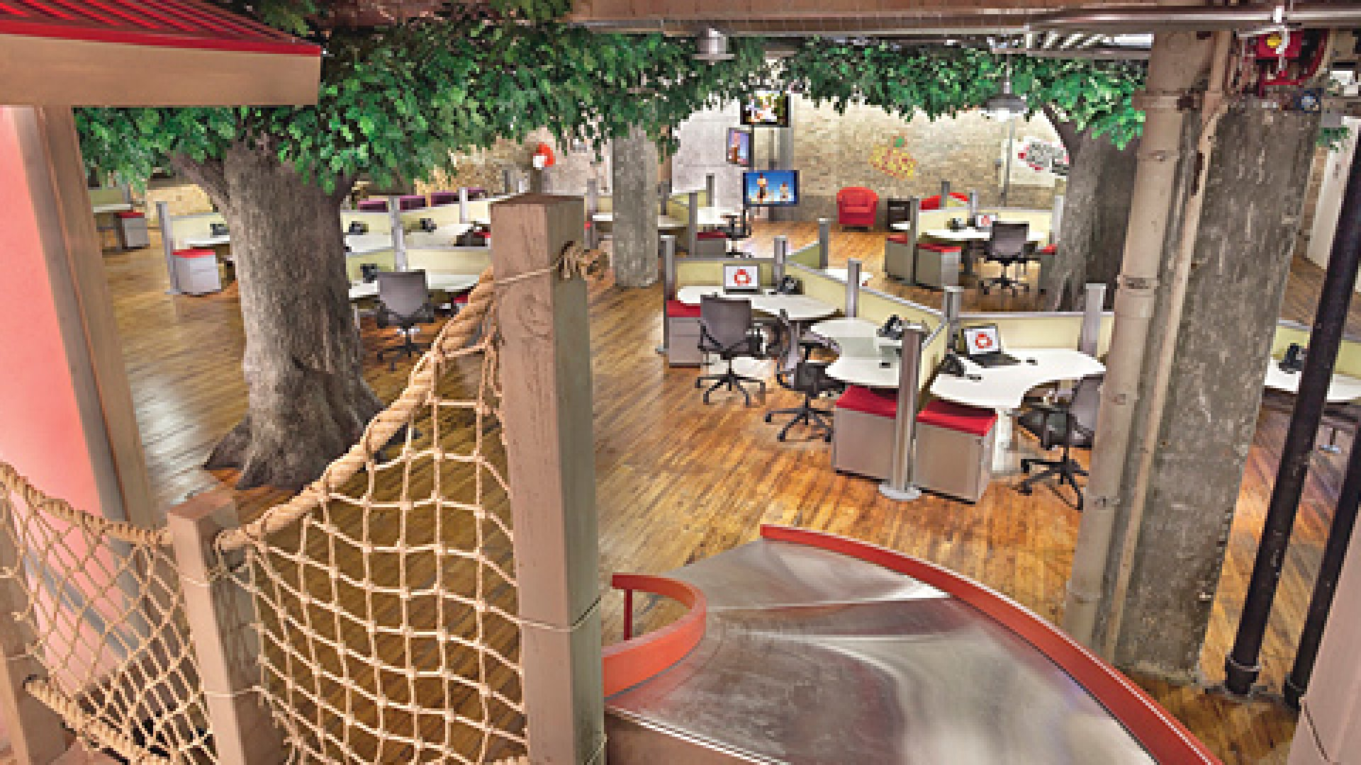 <strong>GO CLIMB A TREE:</STRONG> At the Chicago office of Red Frog Events, employees can hold a meeting in one of two elevated conference rooms in an in-office tree house. And it's done wonders for the company's bottom line.
