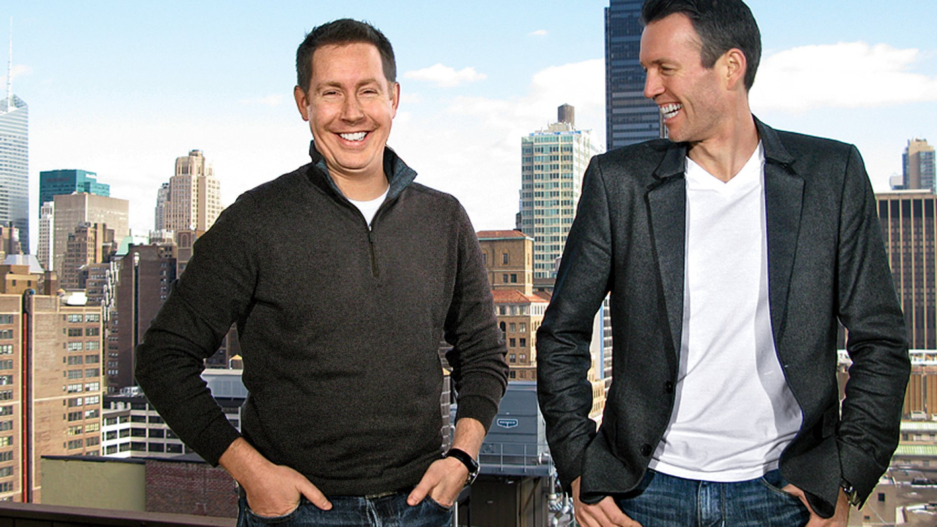 <b>On Top of the World:</b> Visual Revenue co-founders Charlie Holbech (left) and Dennis Mortensen.